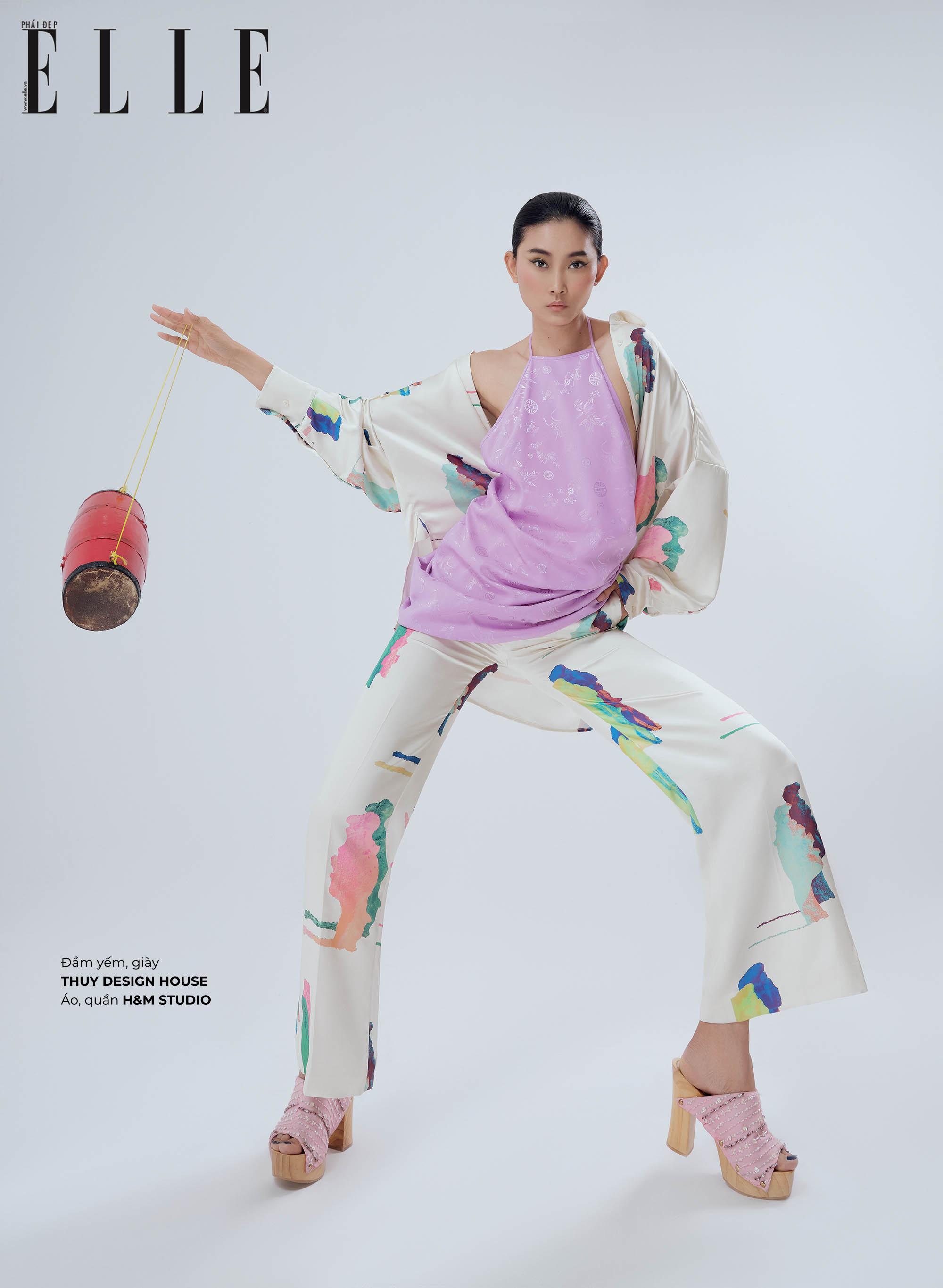 cách phối đồ họa tiết áo yếm tím Thủy Design House