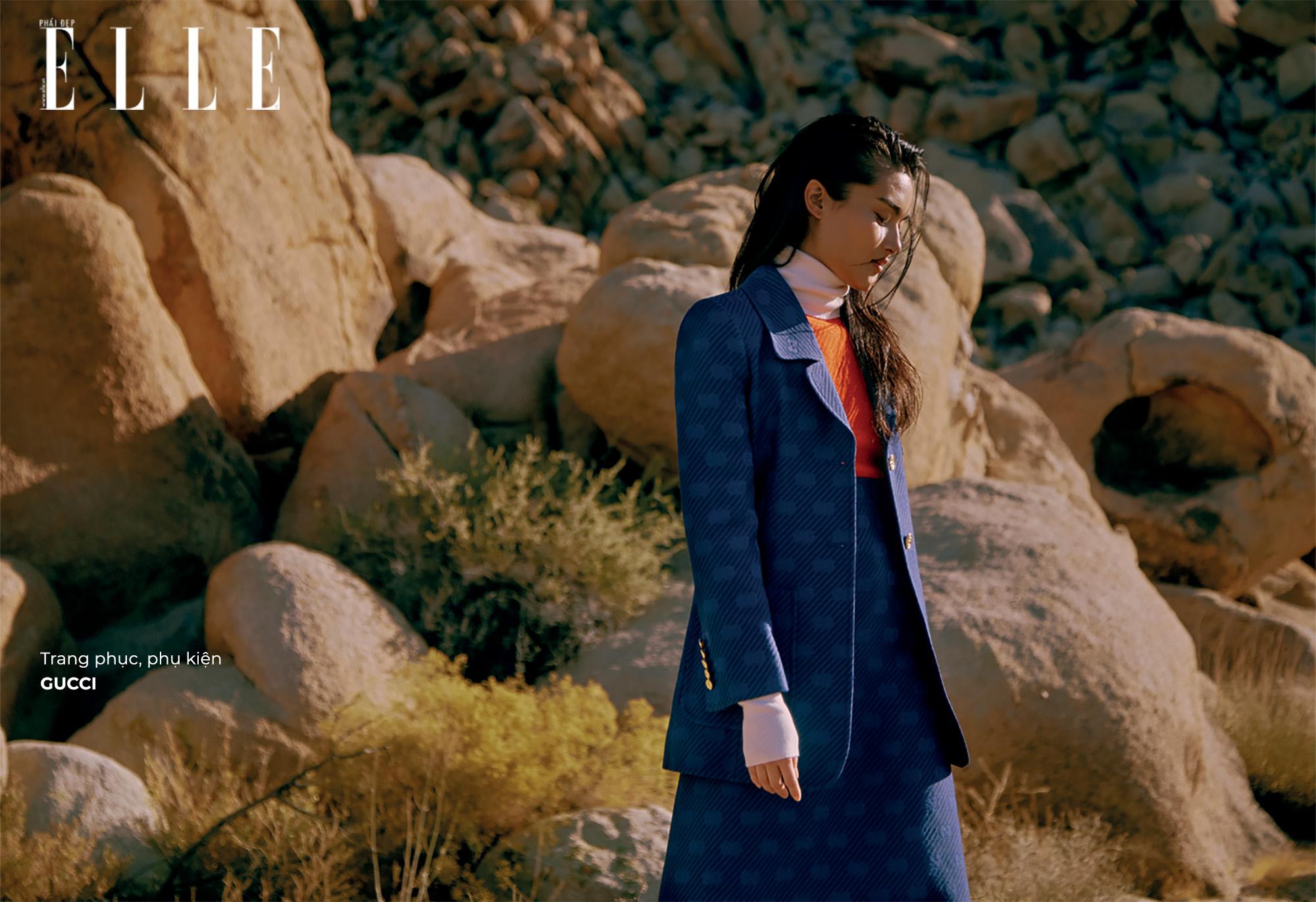 bộ ảnh trang phục Gucci màu xanh