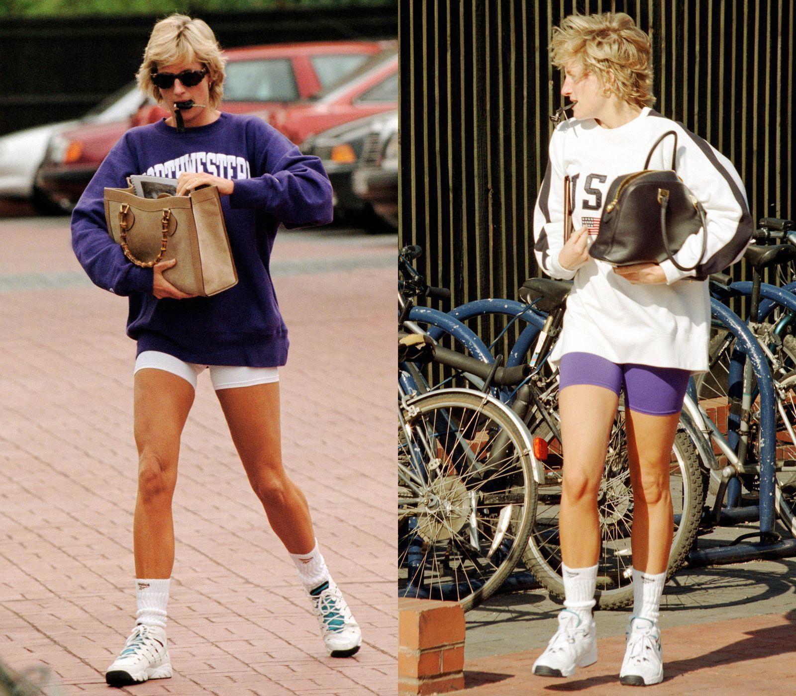 Vương phi Diana mặc trang phục thể thao với áo sweater và quần đạp xe