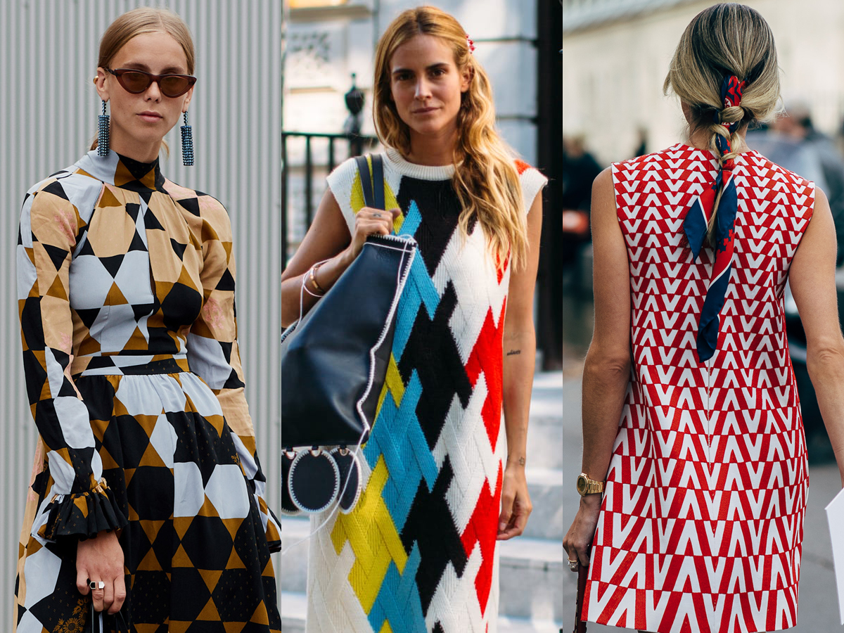 thời trang cung hoàng đạo bảo bình - Trang phục họa tiết hình học màu sắc sặc sỡ