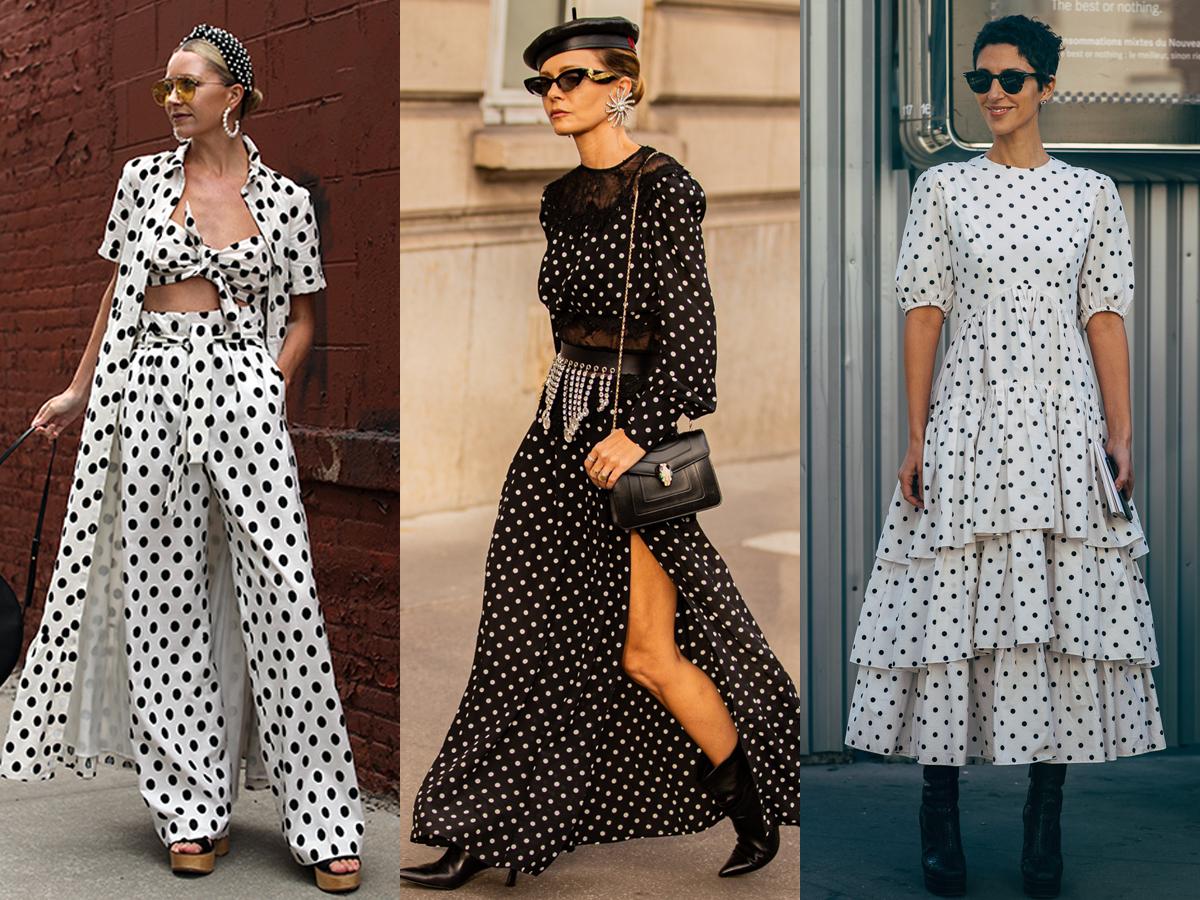 Trang phục họa tiết chấm bi trắng đen cho thời trang cung hoàng đạo bảo bình