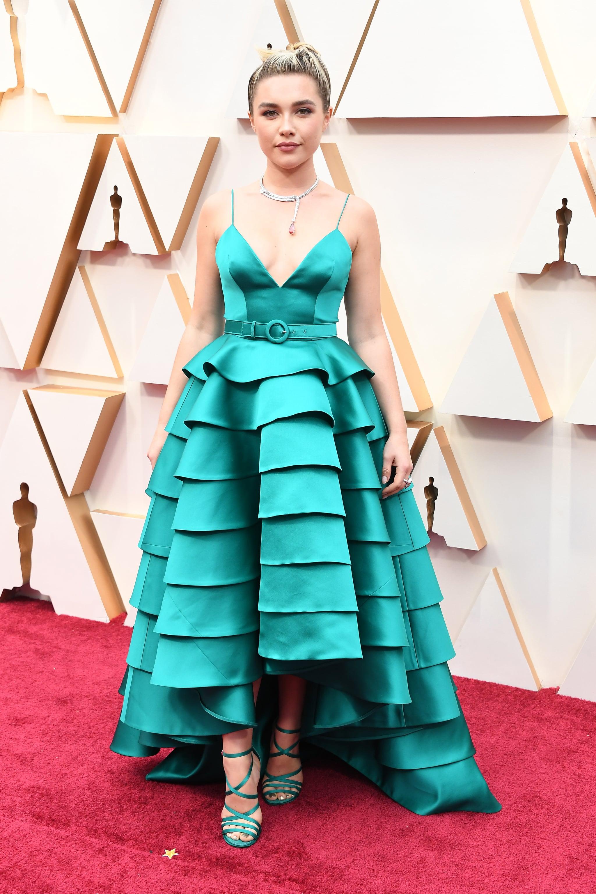 thảm đỏ oscar 2020 Florence Pugh đầm xanh Louis Vuitton