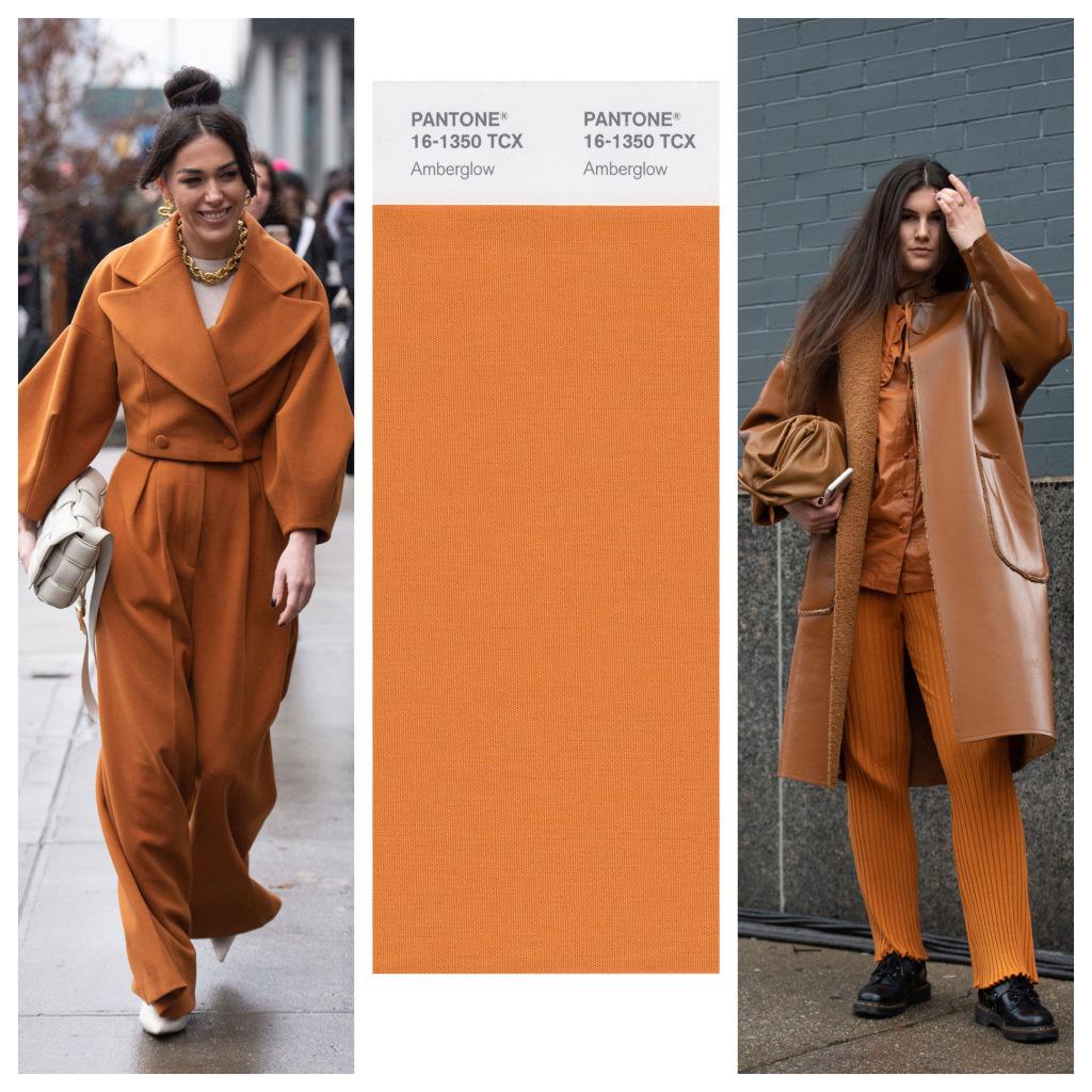 cách phối màu với cam amberglow trong new york fashion week
