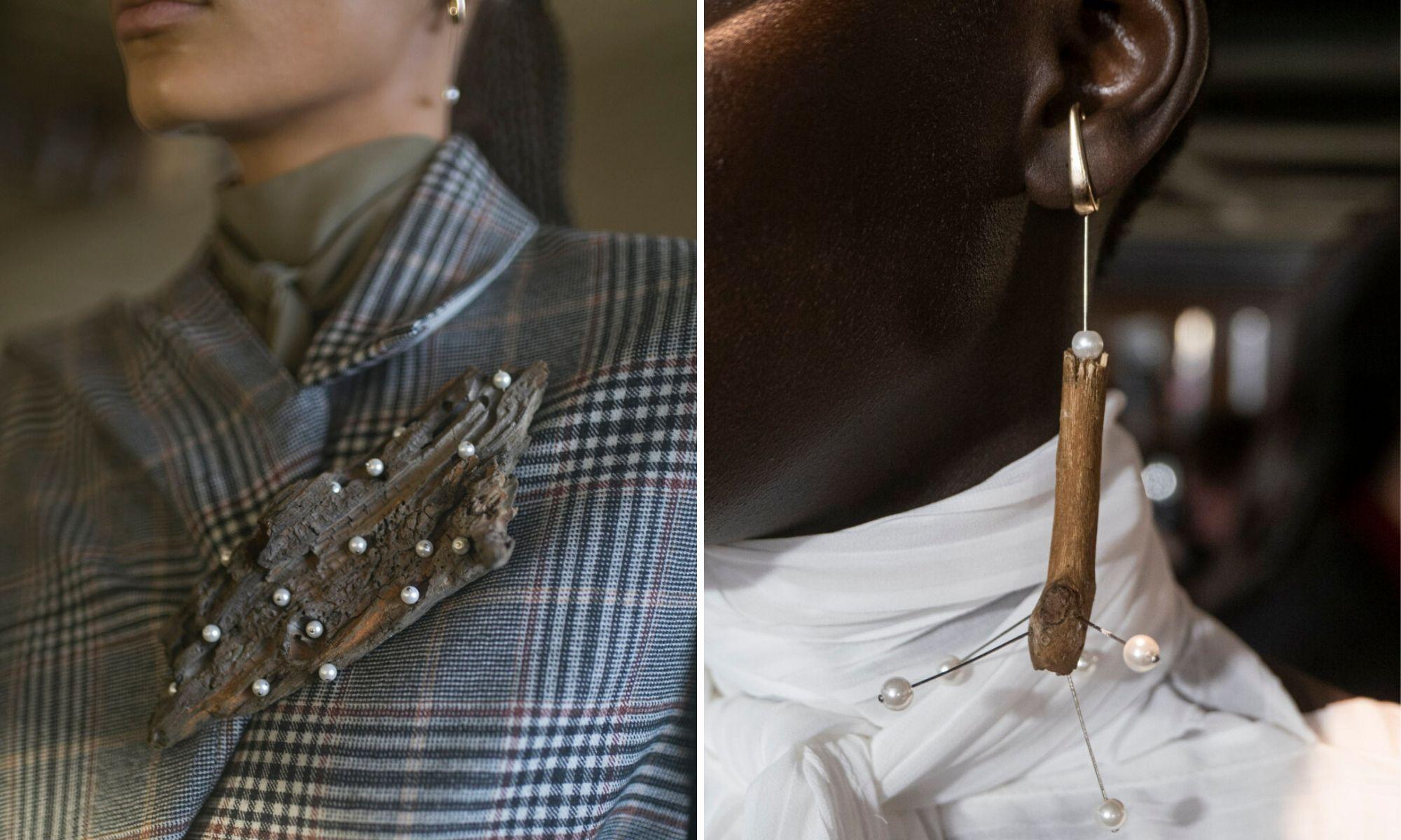 rolan mouret thu đông 2020 tuần lễ thời trang london trang sức phụ kiện gỗ