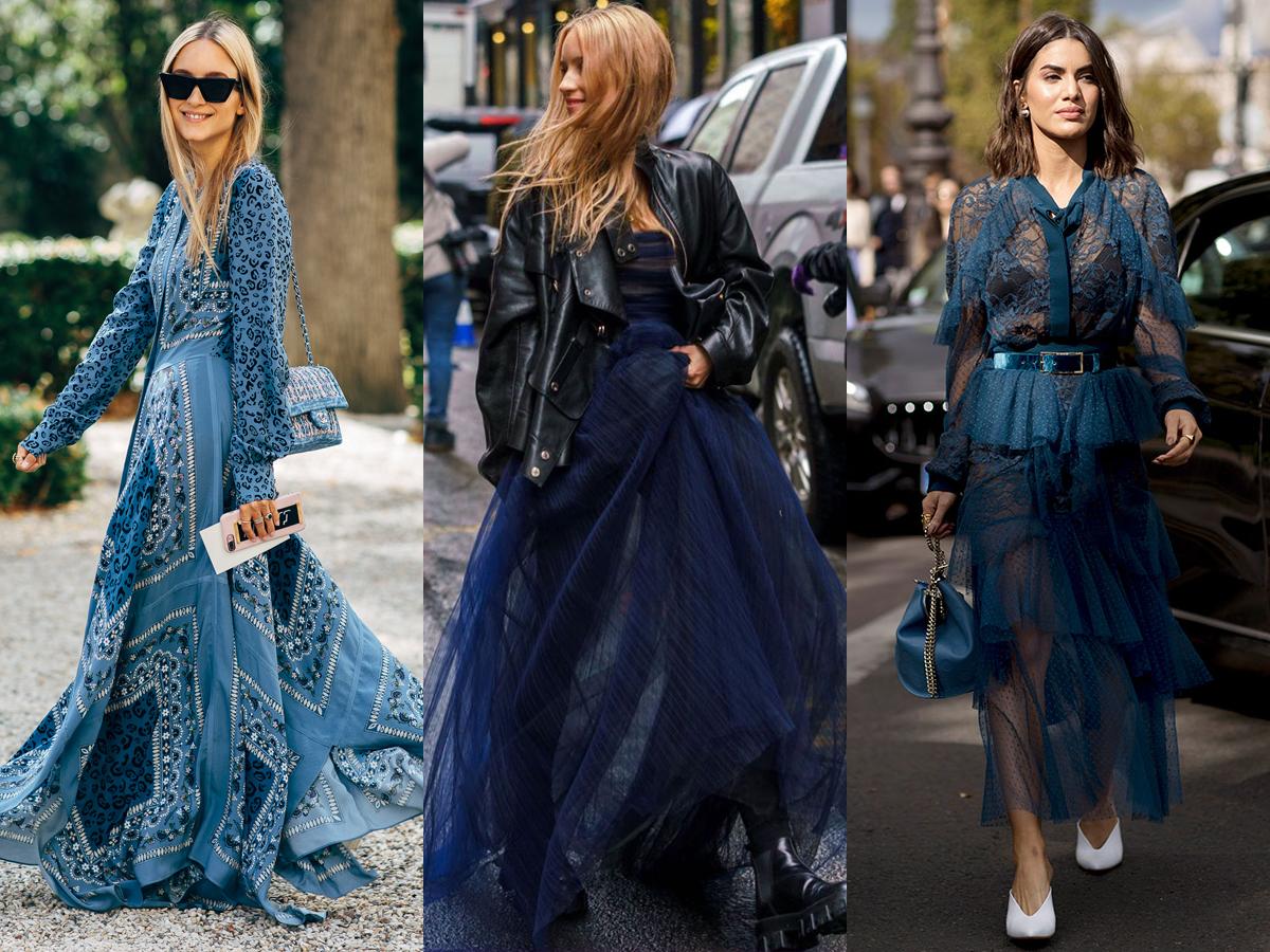 Trang phục màu xanh đậm phù hợp với thời trang cung hoàng đạo Song Ngư