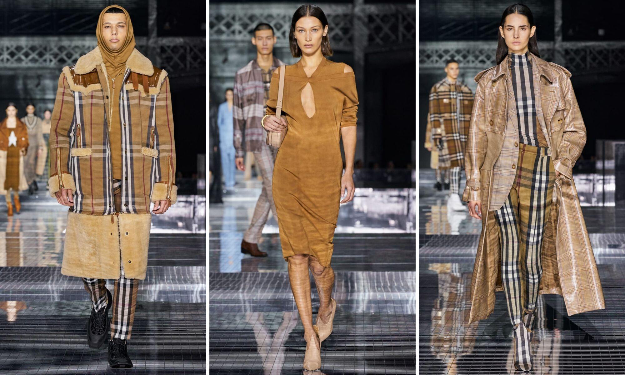burberry thu đông 2020 chất liệu đa dạng tuần lễ thời trang london