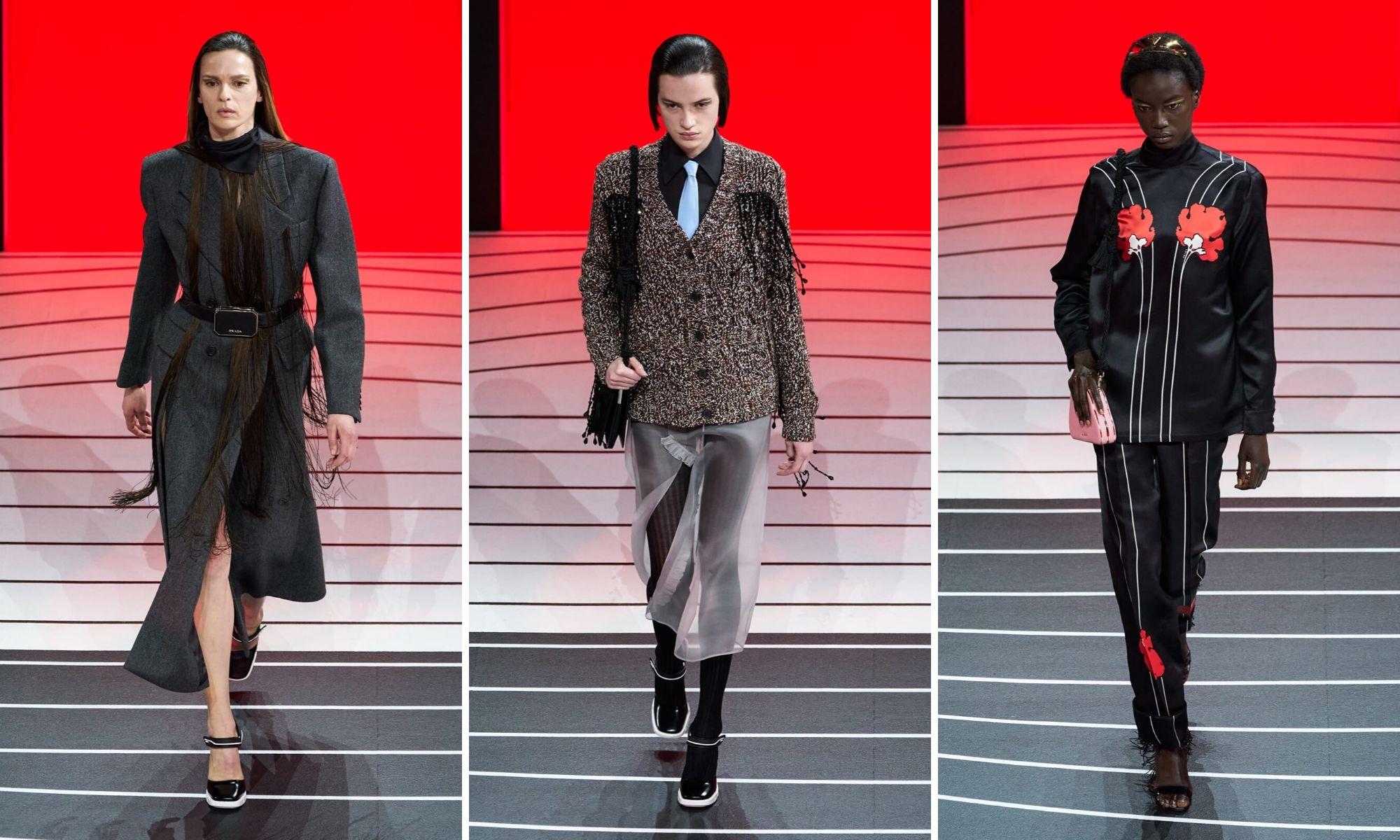 thiết kế tương phản prada thu đông 2020 tuần lễ thời trang milan