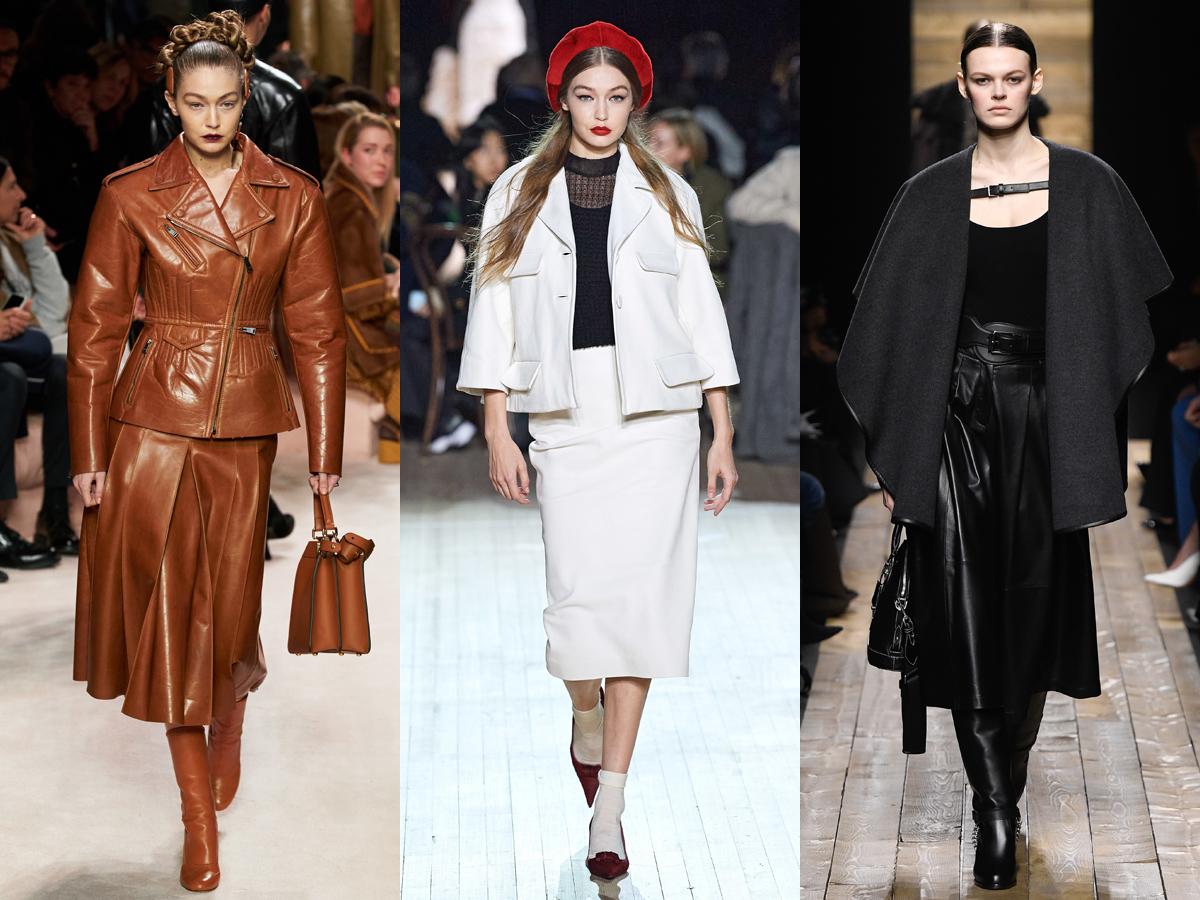 Chân váy da nhân tạo màu sắc cơ bản từ tuần lễ thời trang Thu - Đông 2020