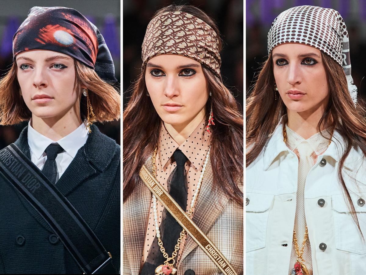 Khăn lụa buộc đầu với nhiều họa tiết khác nhau trong BST Thu - Đông 2020 của Christian Dior