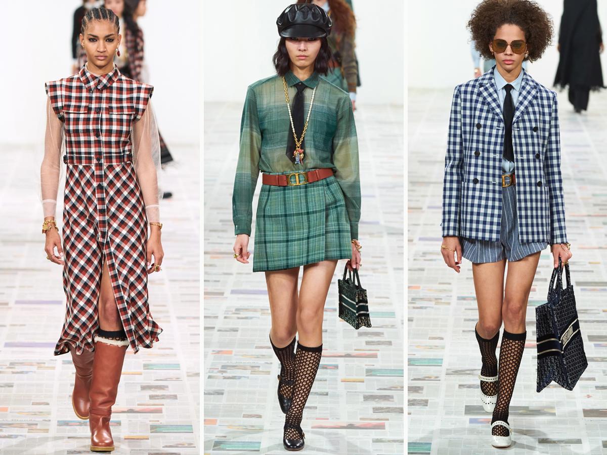 Họa tiết kẻ với màu sắc đa dạng xuất hiện trong BST Christian Dior Thu - Đông 2020