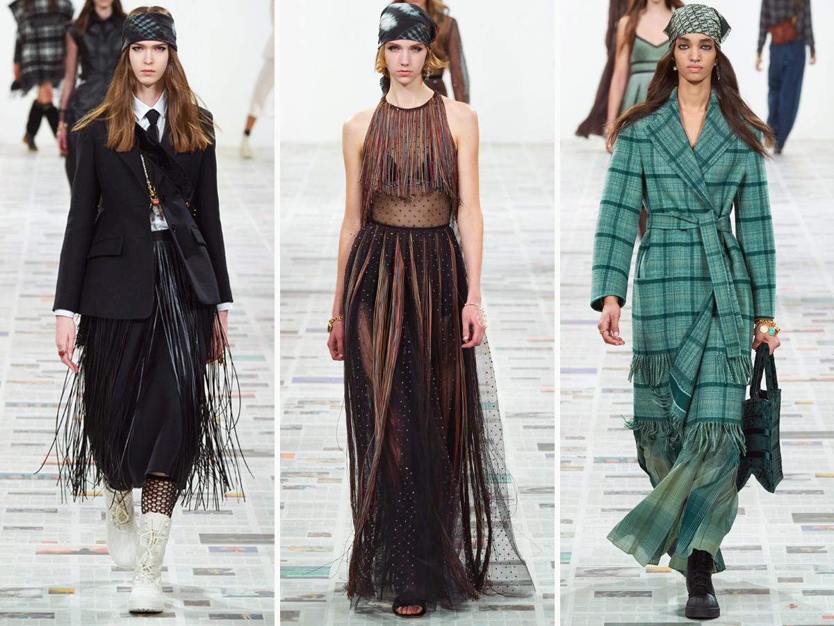 Chi tiết tua rua xuất hiện trong nhiều thiết kế của BST Christian Dior Thu - Đông 2020