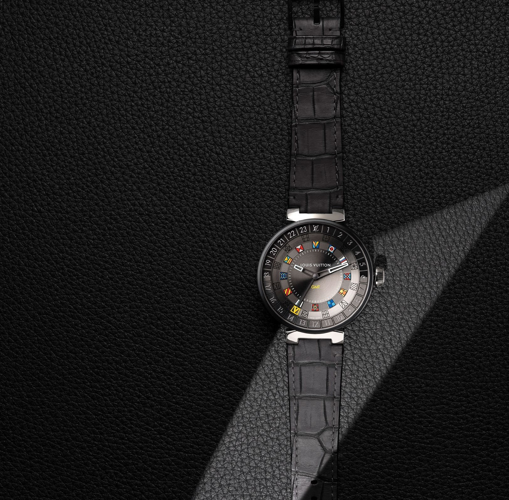 đồng hồ louis vuitton tambour moon dual time nam