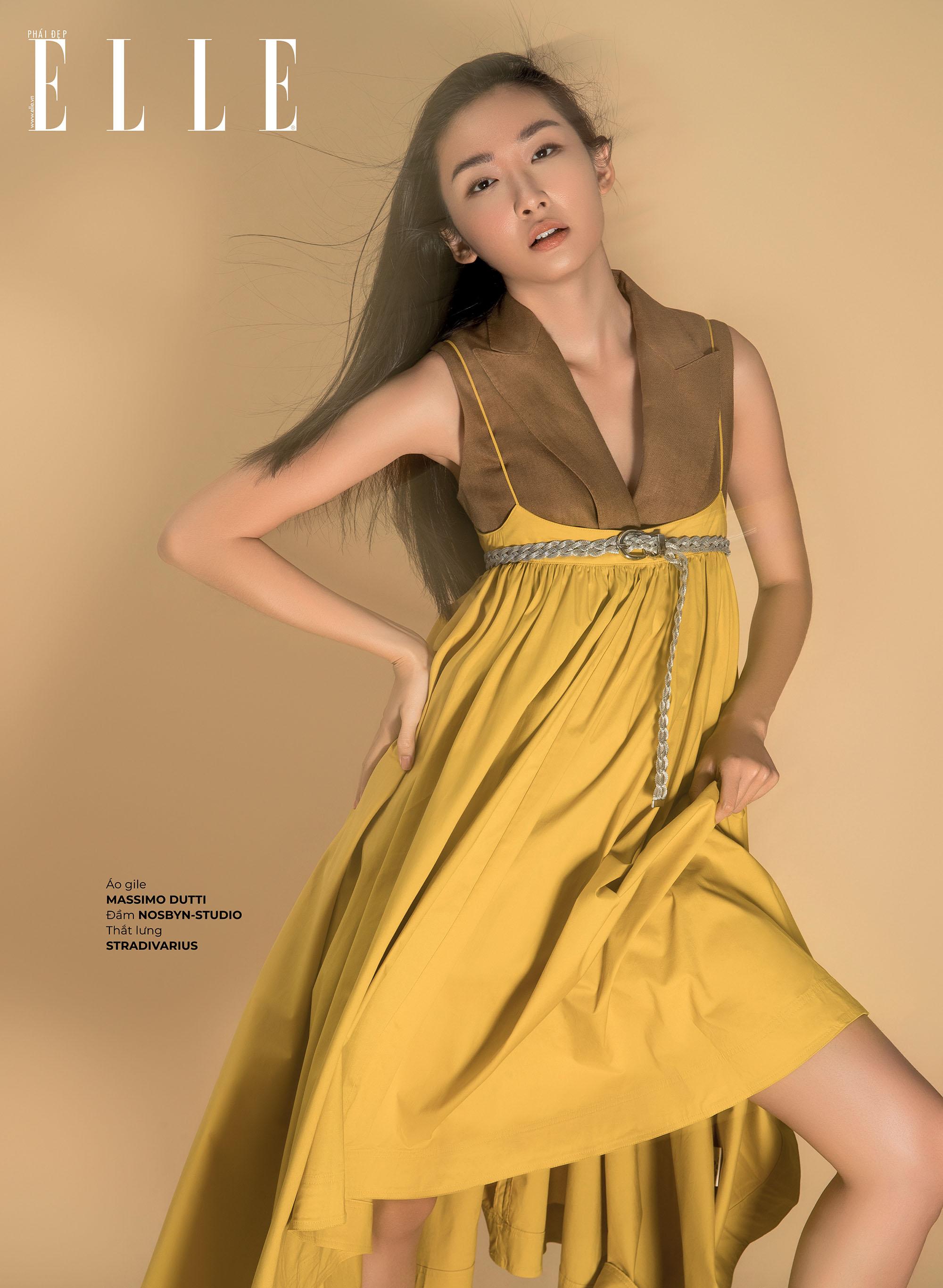 kết hợp trang phục đầm vàng có thắt lưng