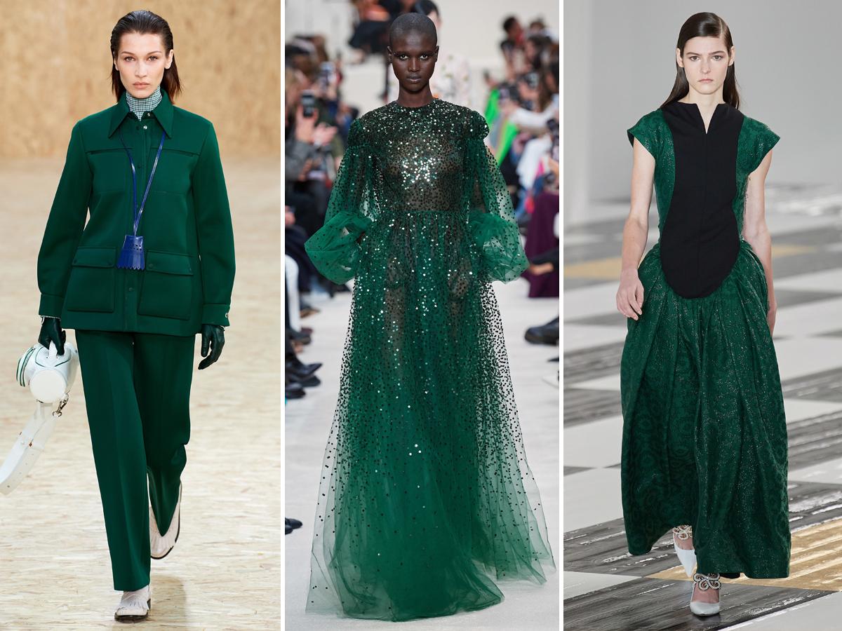 Xu hướng màu xanh ngọc lục bảo từ Tuần lễ thời trang Thu - Đông 2020