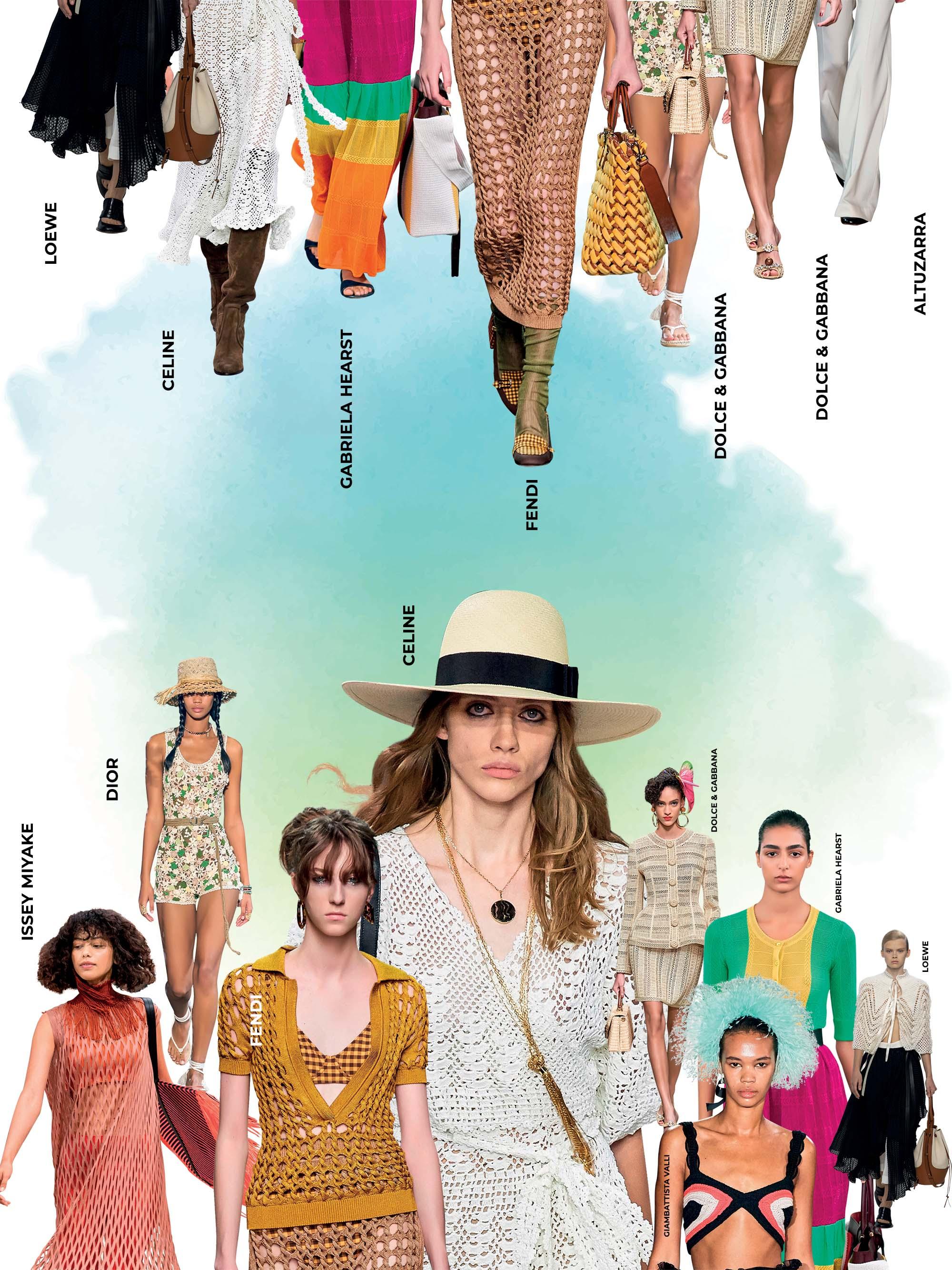 xu hướng thời trang chất liệu đan móc