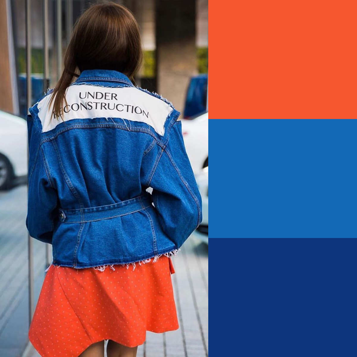 Cách phối màu quần áo mùa hè năng động với xanh dương và cam