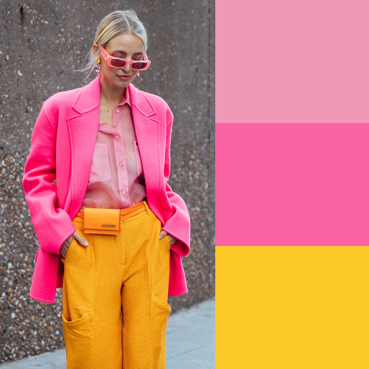 Cách phối màu quần áo mùa hè với hồng và vàng tươi