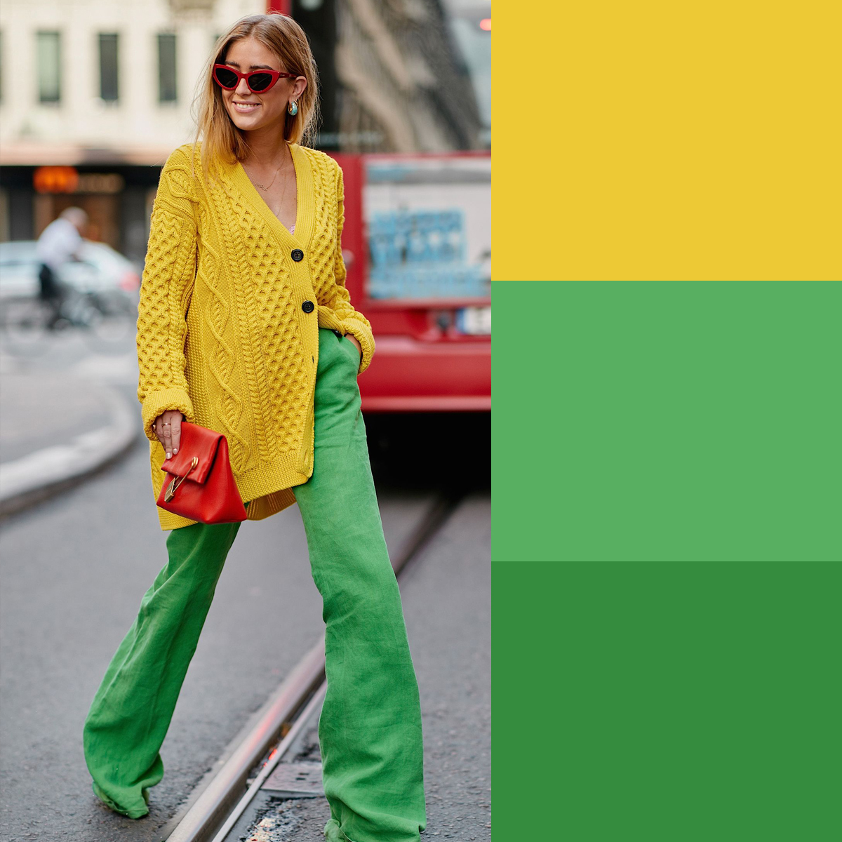 Cách phối màu quần áo mùa hè với vàng và xanh lá cây