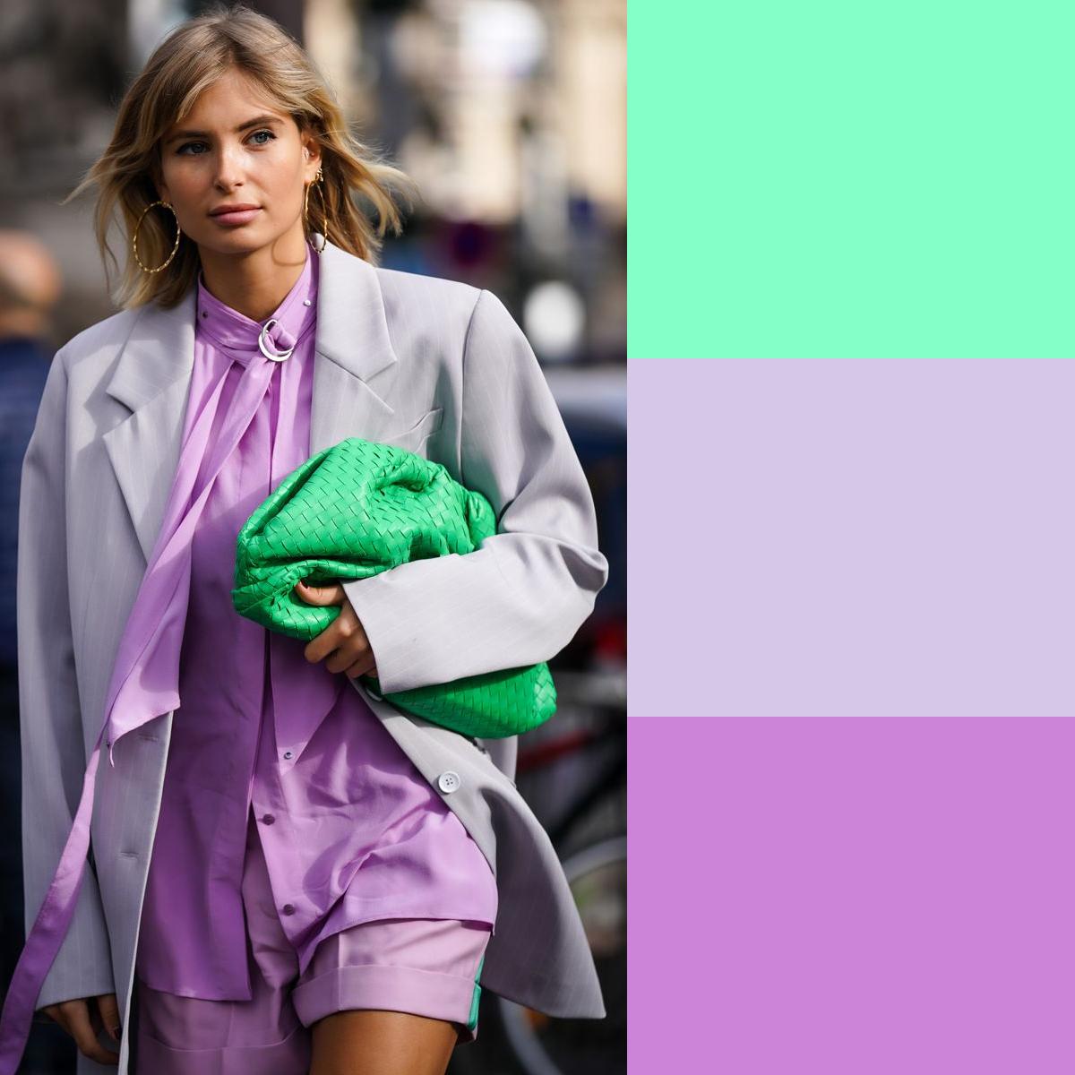 Cách phối màu quần áo mùa hè với xanh bạc hà và tím lilac