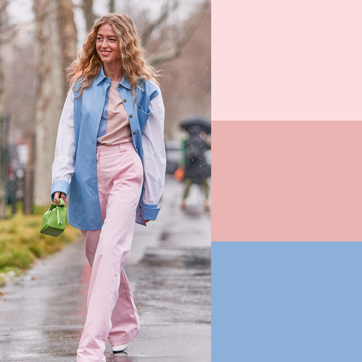 Cách phối màu quần áo mùa hè với xanh và hồng pastel