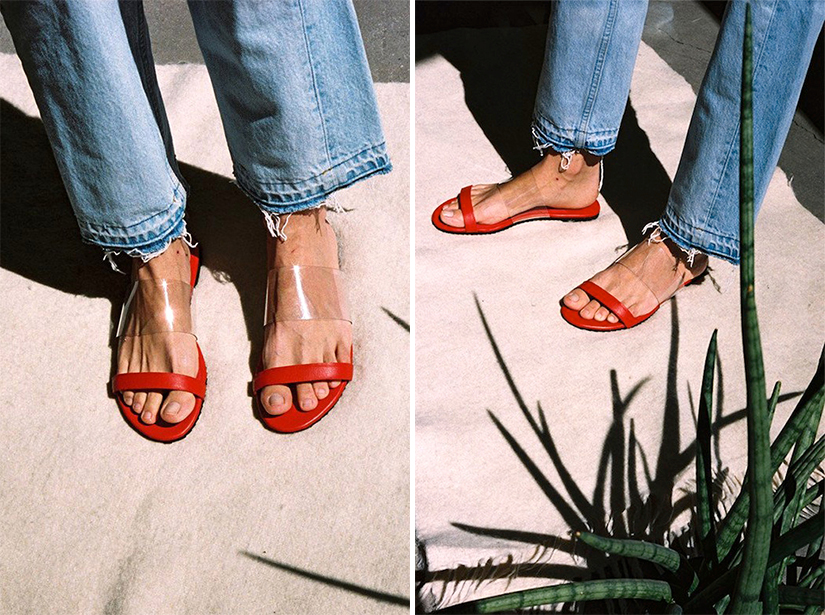 giày đỏ trong suốt tăng chiều cao