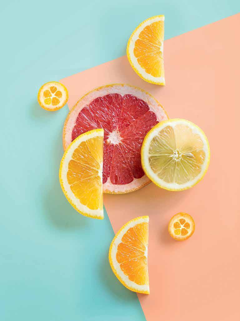 Chanh-Những lát chanh và cam.