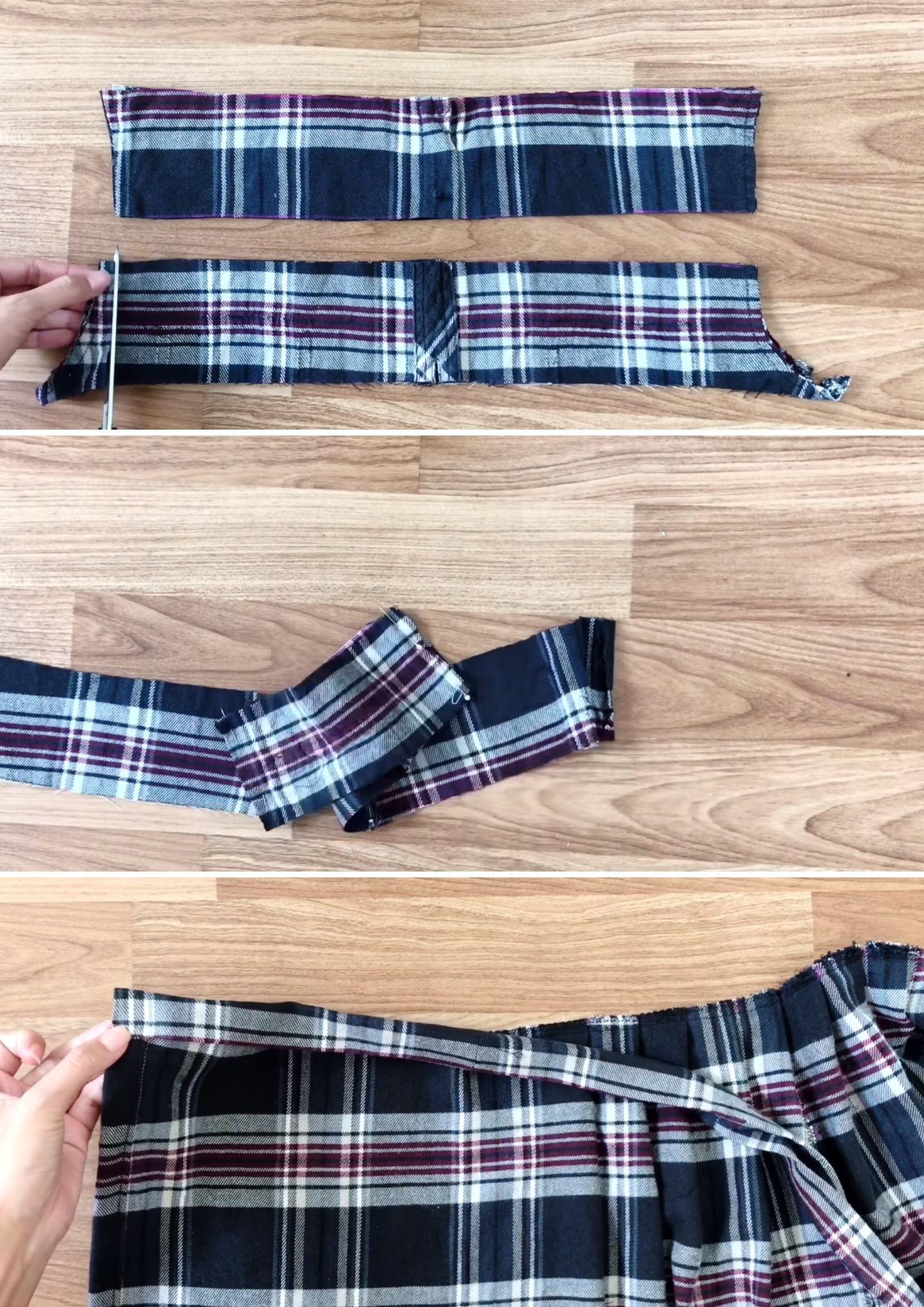 chân váy từ áo sơmi cách làm thắt lưng