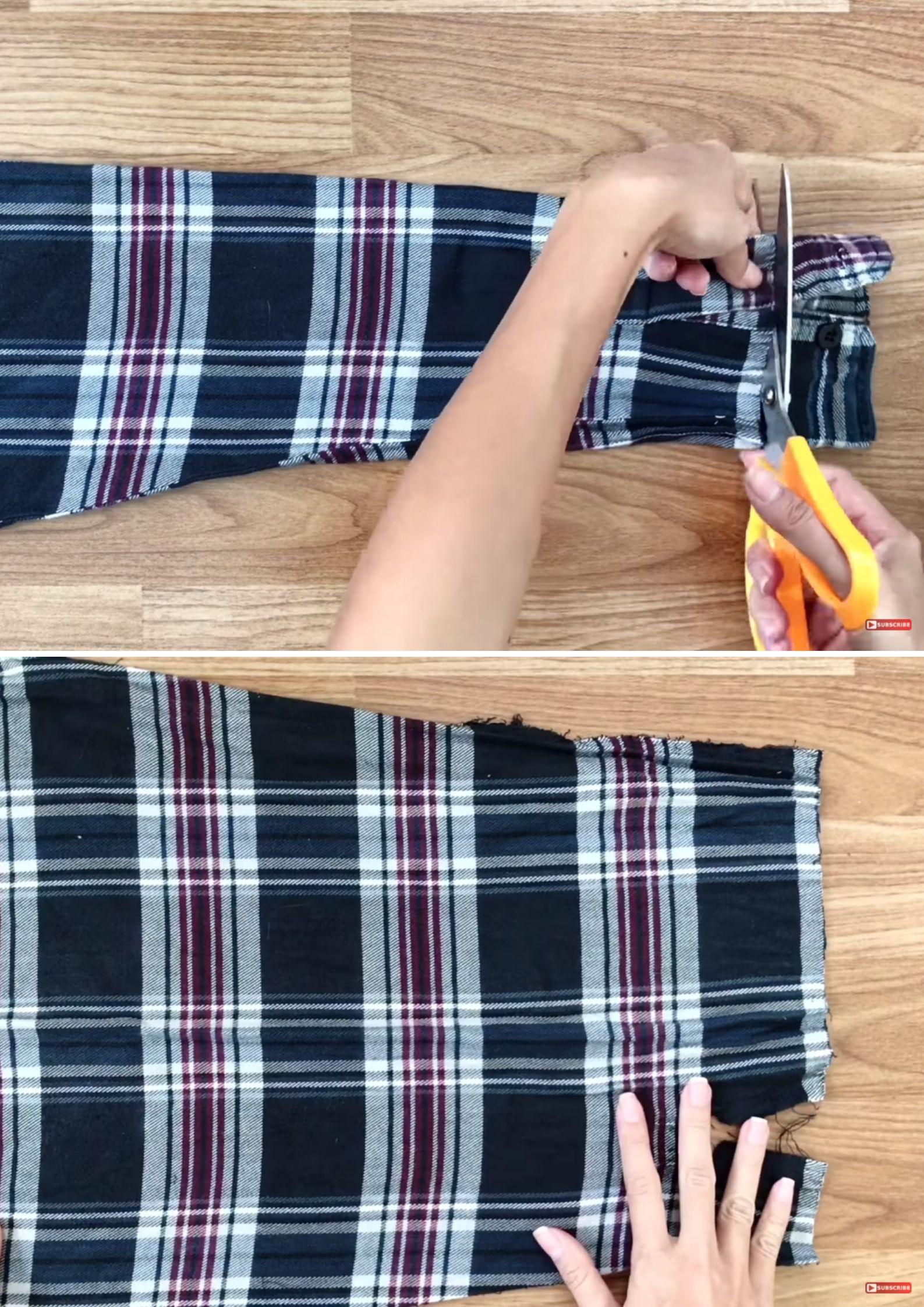 chân váy từ áo sơmi bước cắt tay áo