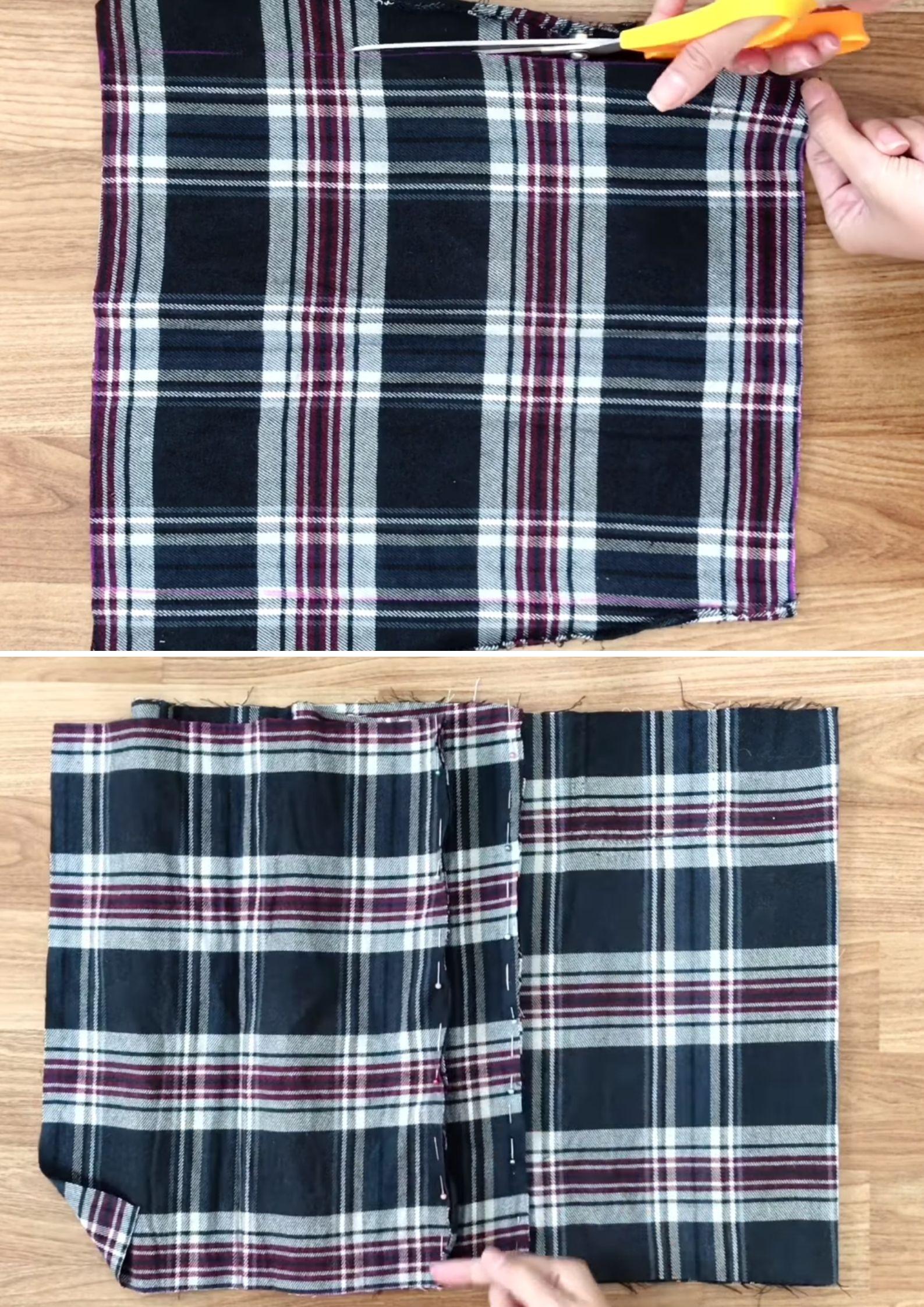 chân váy từ áo sơmi cách nối vải