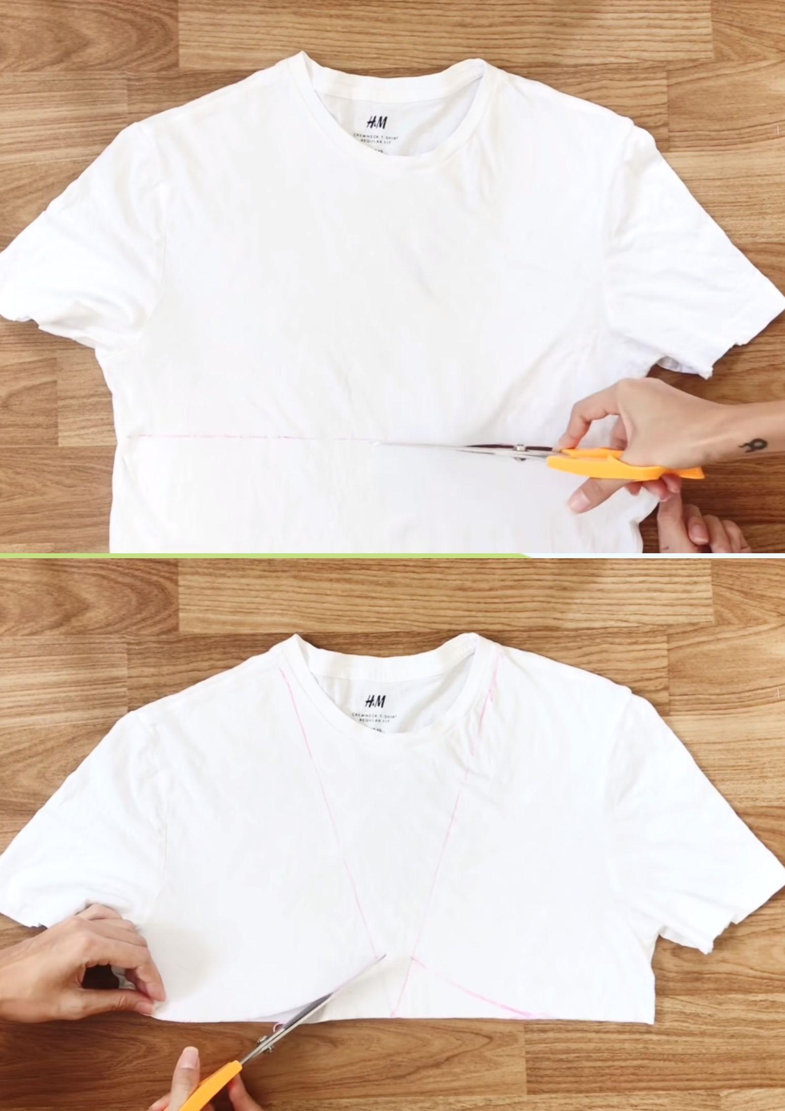 croptop nhún bèo từ quần áo cũ bước cắt áo