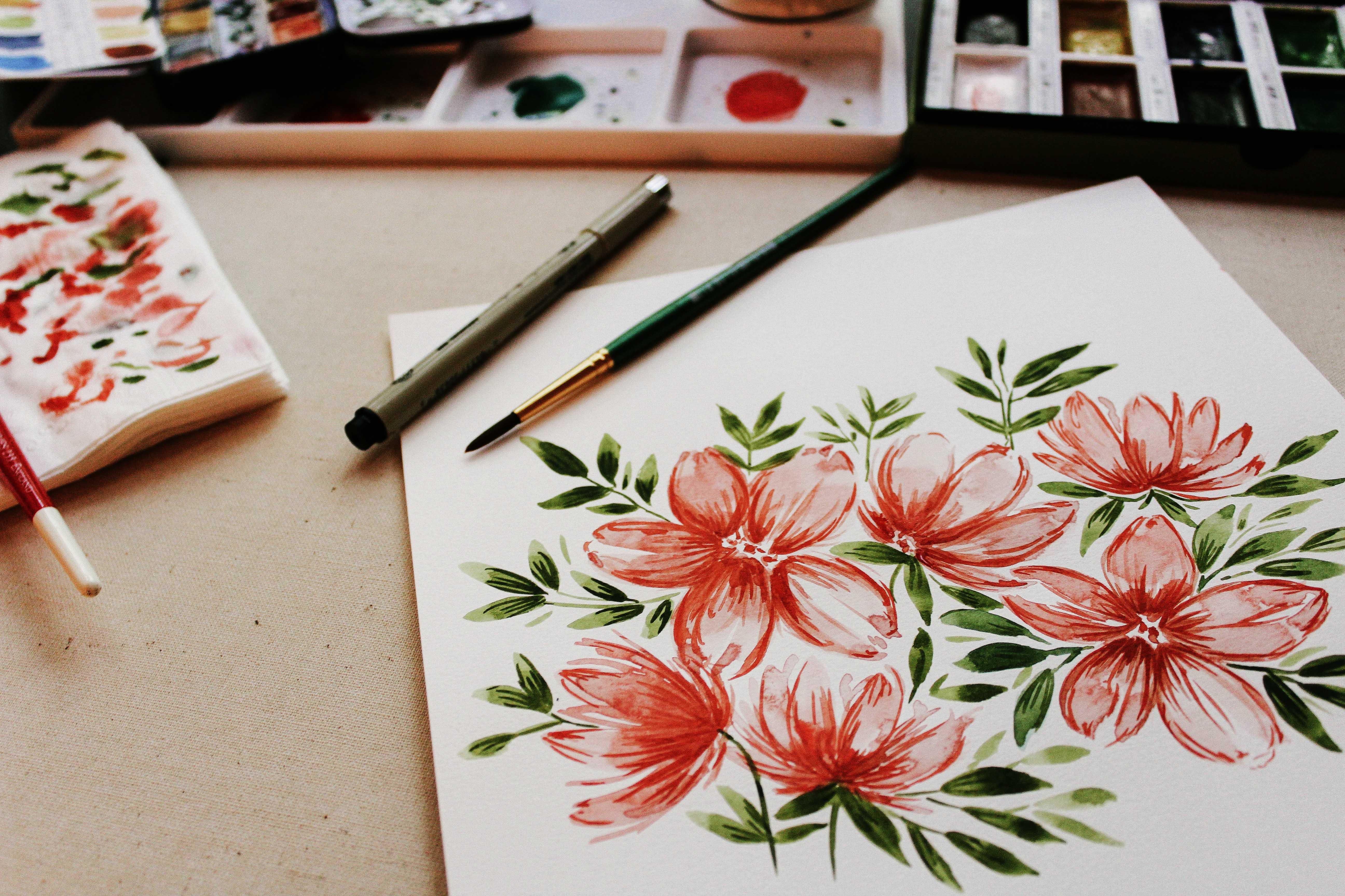 tranh vẽ bông hoa