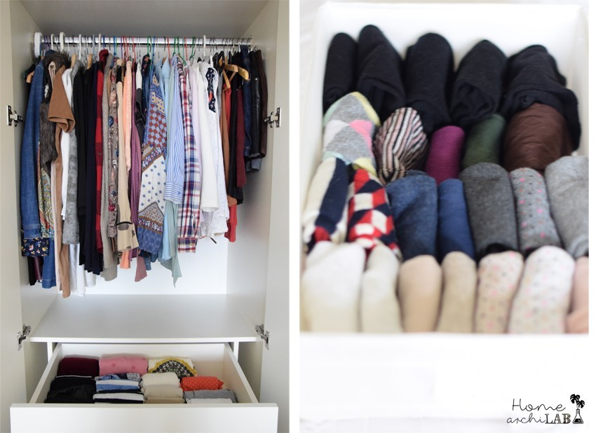 tủ quần áo gọn gàng xếp đồ theo marie kondo