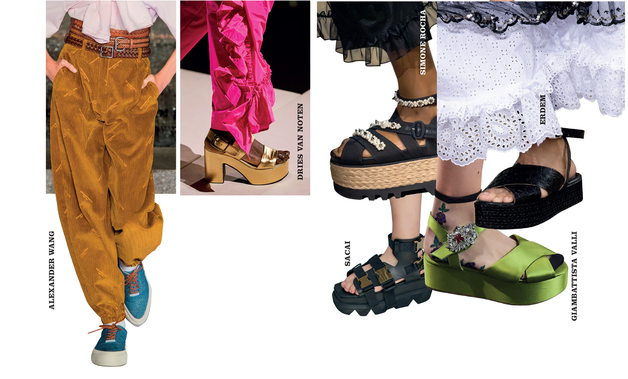 phụ kiện giày đế bằng bánh mì cho mùa thời trang Xuân Hè 2020