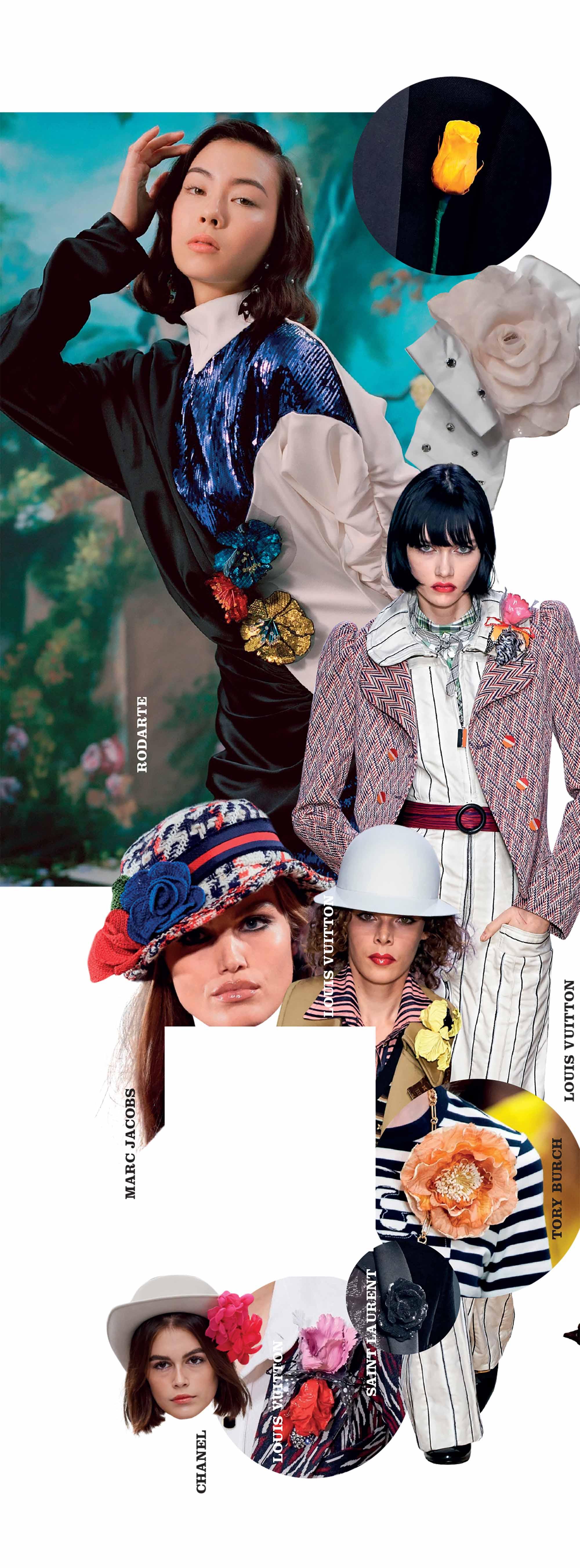 phụ kiện hoa cài áo ấn tượng trong các bộ sưu tập thời trang Xuân Hè 2020