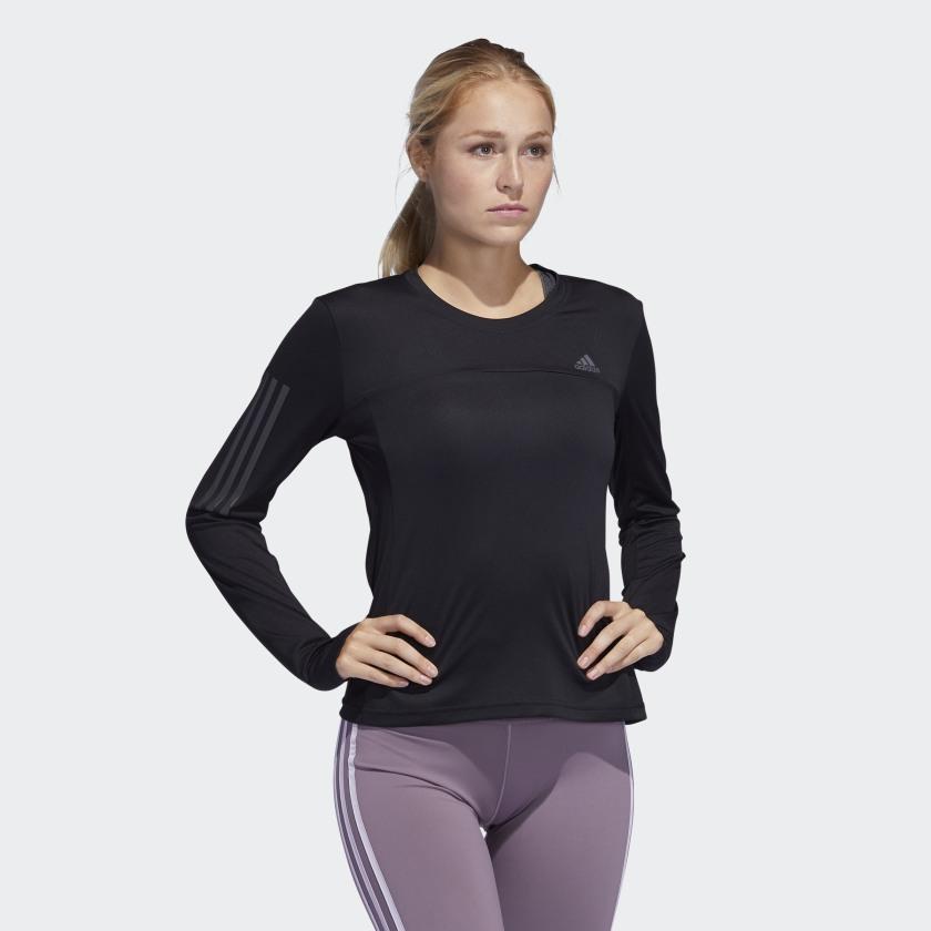 Áo thun thể thao tay dài adidas màu đen dành cho tập Yoga