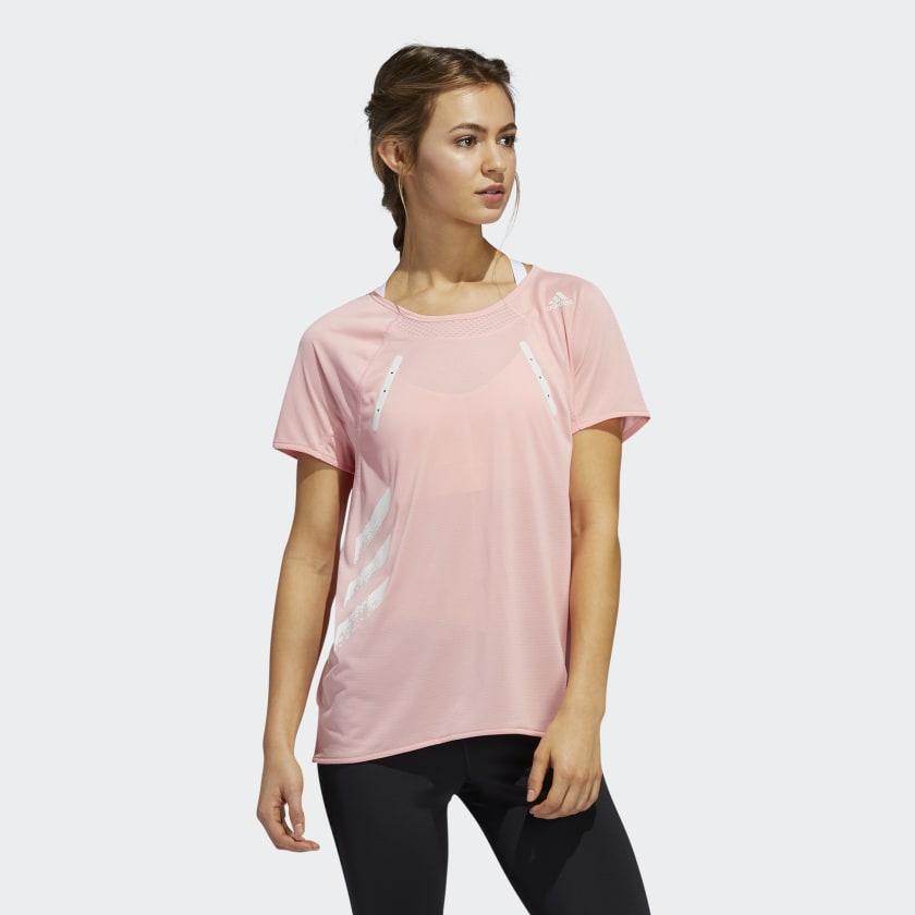 Áo thun thể thao adidas màu hồng dành cho tập Yoga
