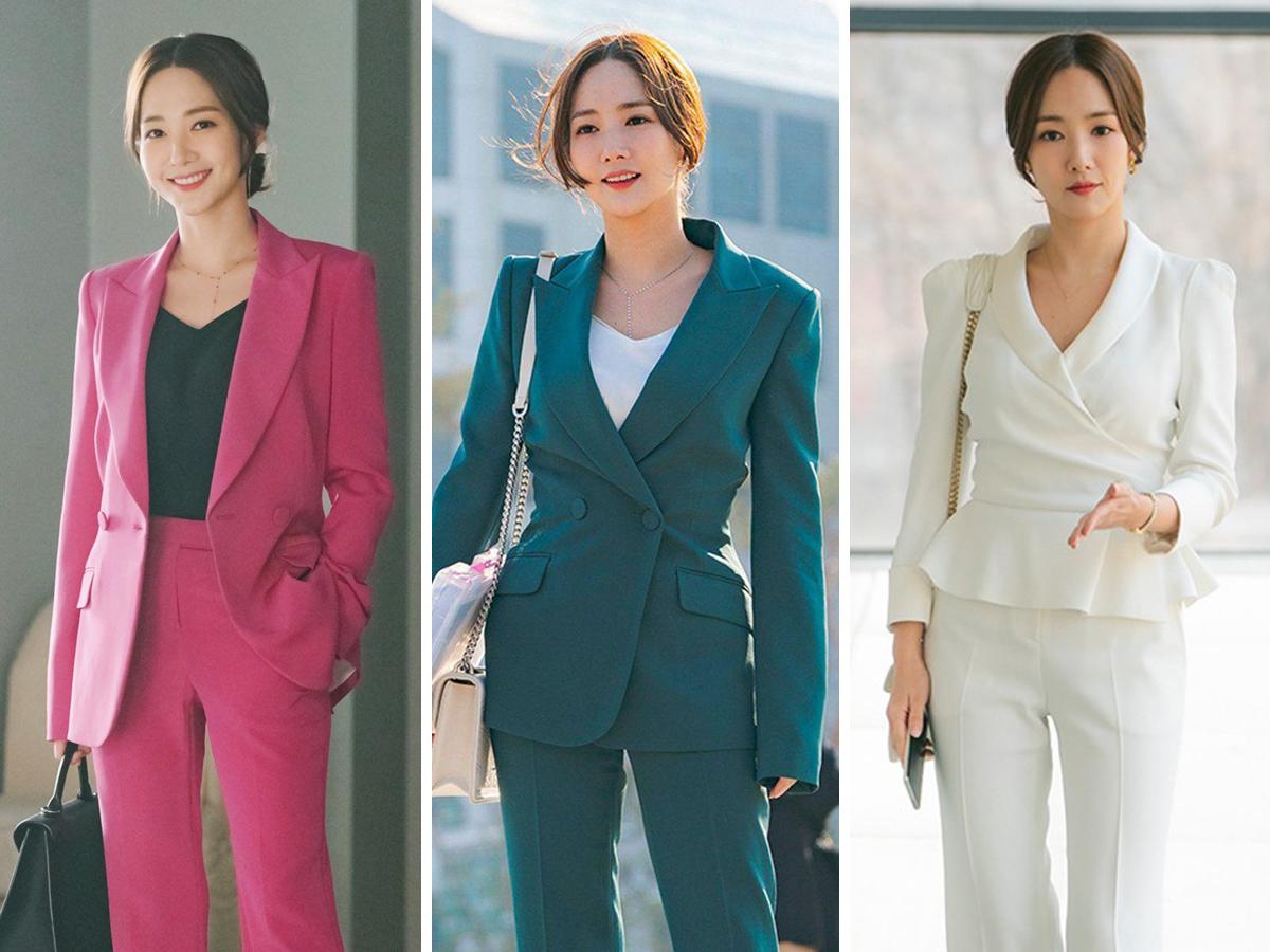 Park Min Young mặc âu phục công sở trơn màu trong phim Hàn Quốc Her Private Life