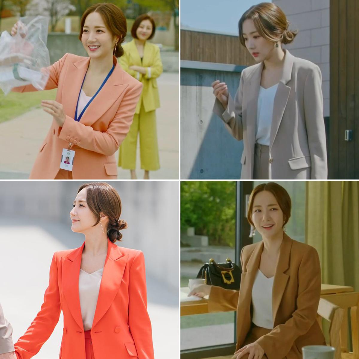 Những bộ âu phục màu sắc tươi tắn mà Park Min Young mặc trong phim Hàn Quốc Her Private Life