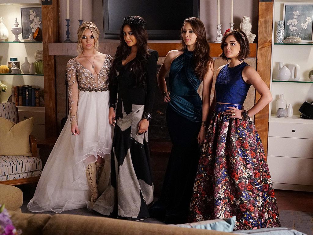 thời trang phim truyền hình âu mỹ pretty little liars 4 nhân vật trong bộ đầm prom