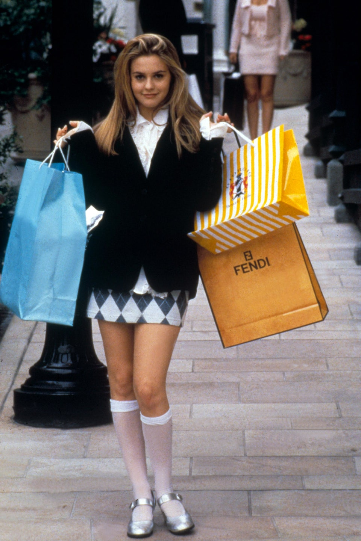 thời trang trong phim clueless áo blazer chân váy kẻ tất cao cổ giày bạc