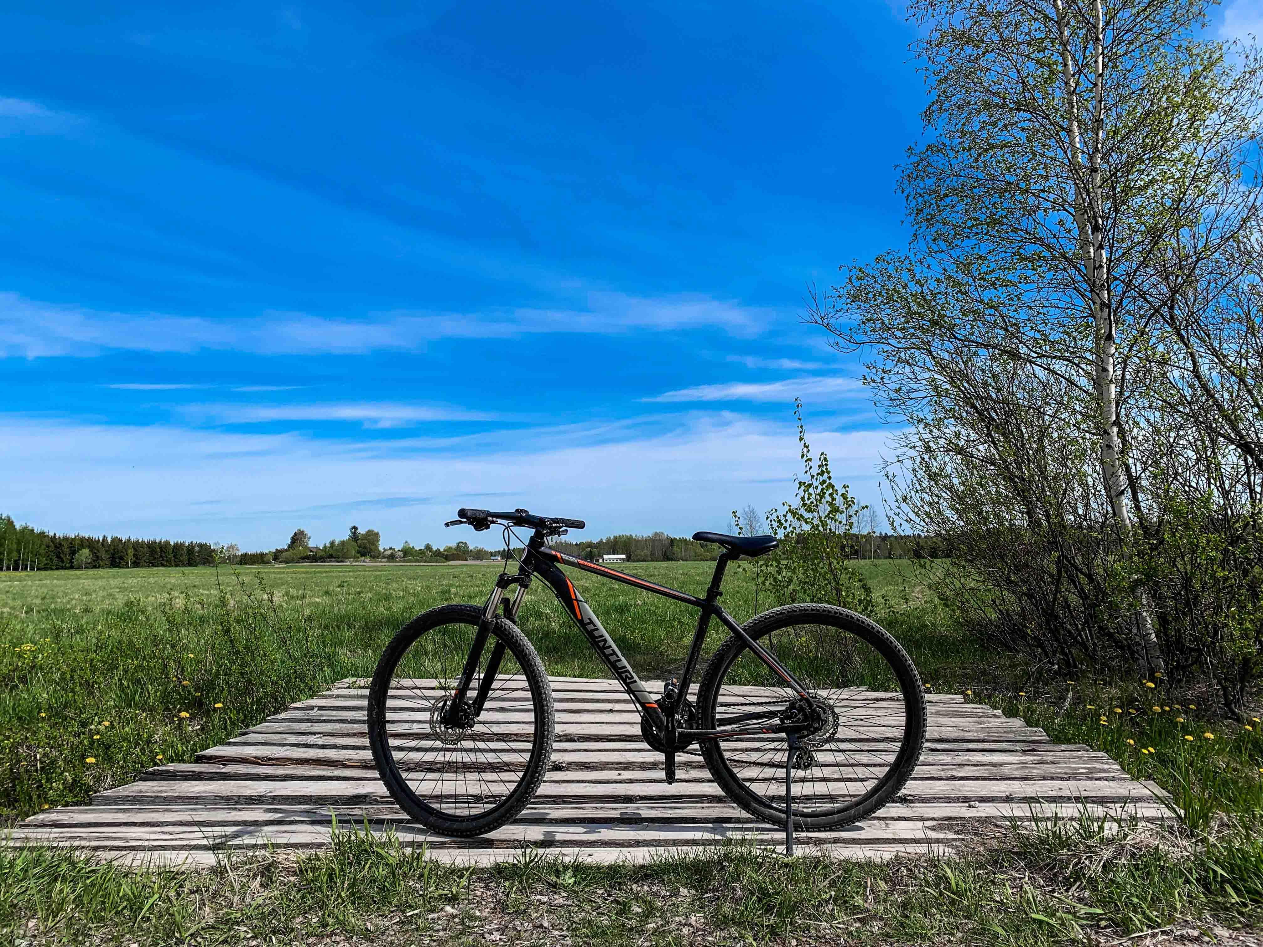 chiếc xe đạp giữa cánh đồng
