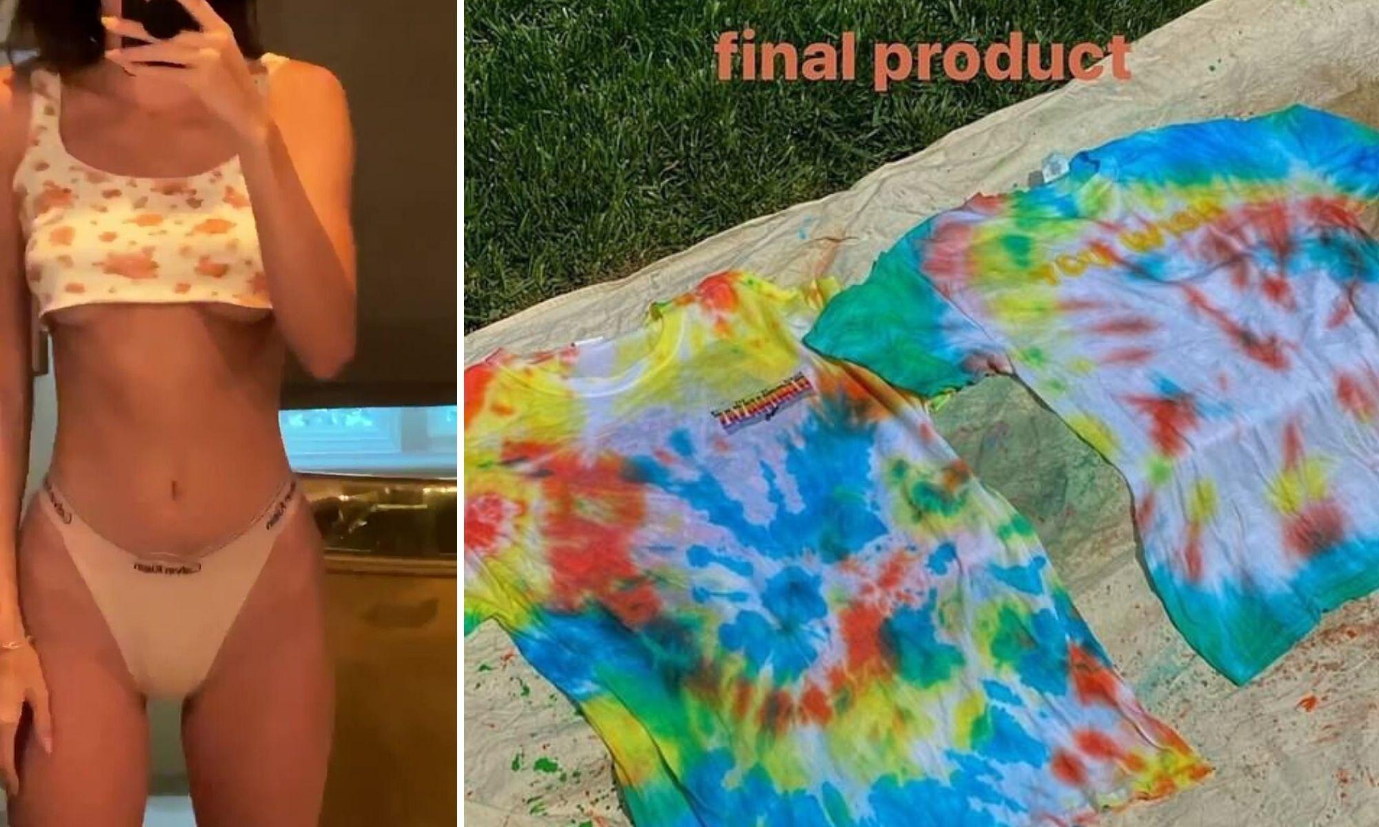thành quả nhuộm quần áo tie-dye tại nhà của người mẫu kendall jenner