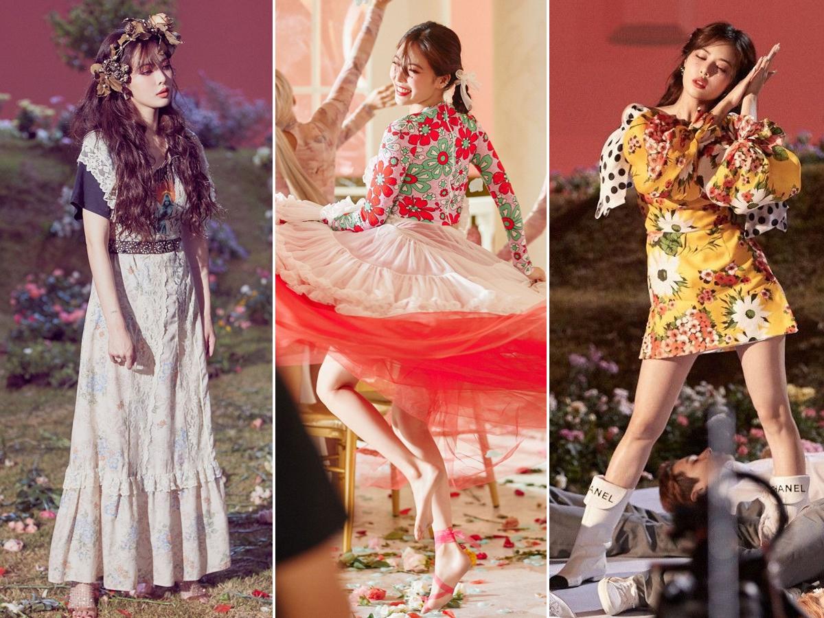 HuynA mặc đủ kiểu đầm hoa trong MV nhạc KPOP Flower Shower