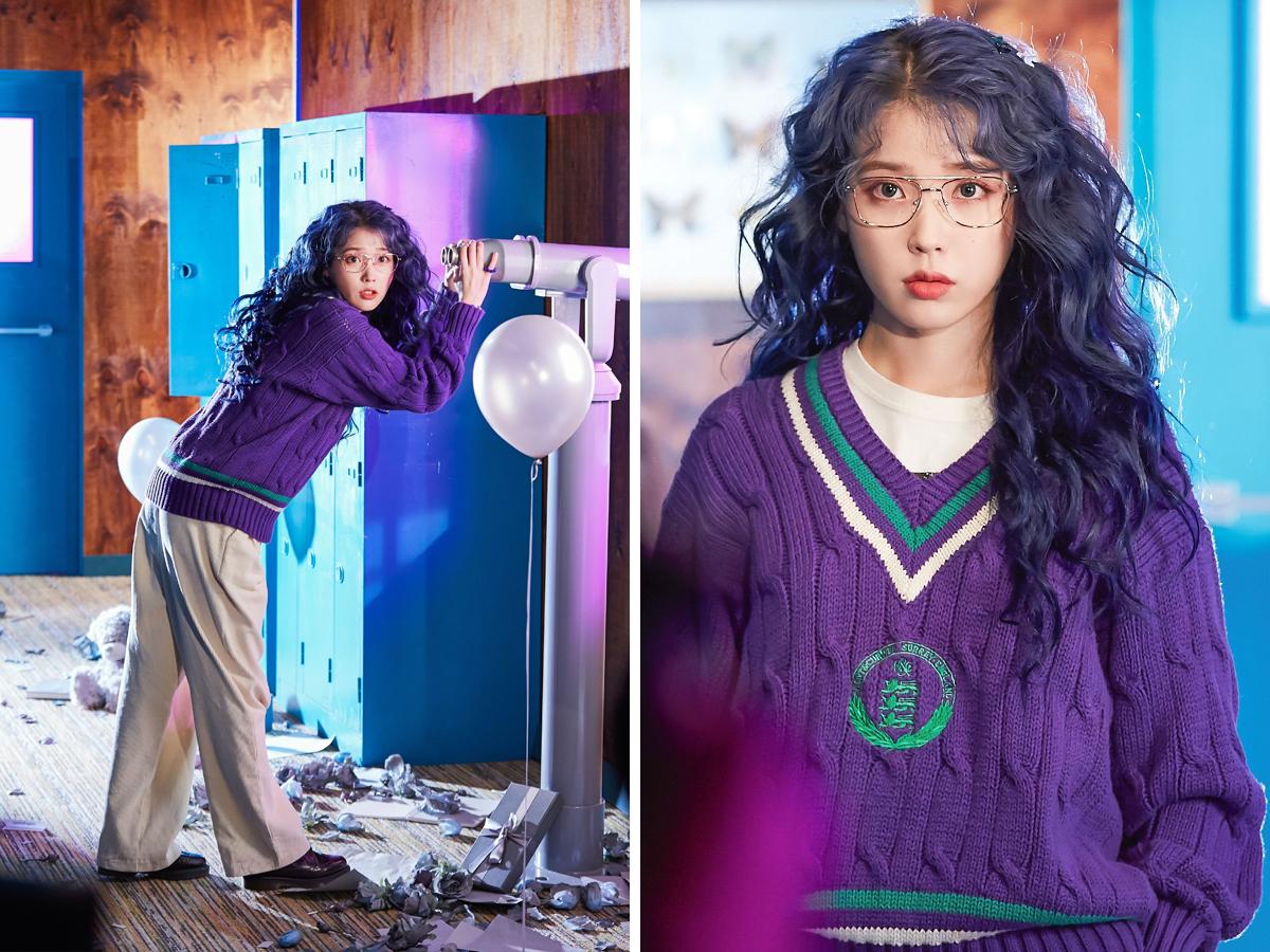 IU mặc áo len phom rộng màu tím trong MV nhạc KPOP Blueming
