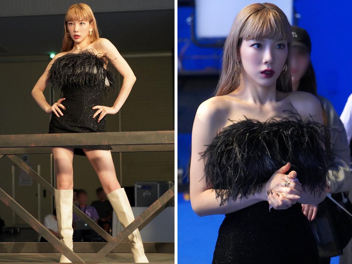 Taeyeon mặc đầm lông vũ đen, mang giày bốt trắng trong MV nhạc KPOP Spark