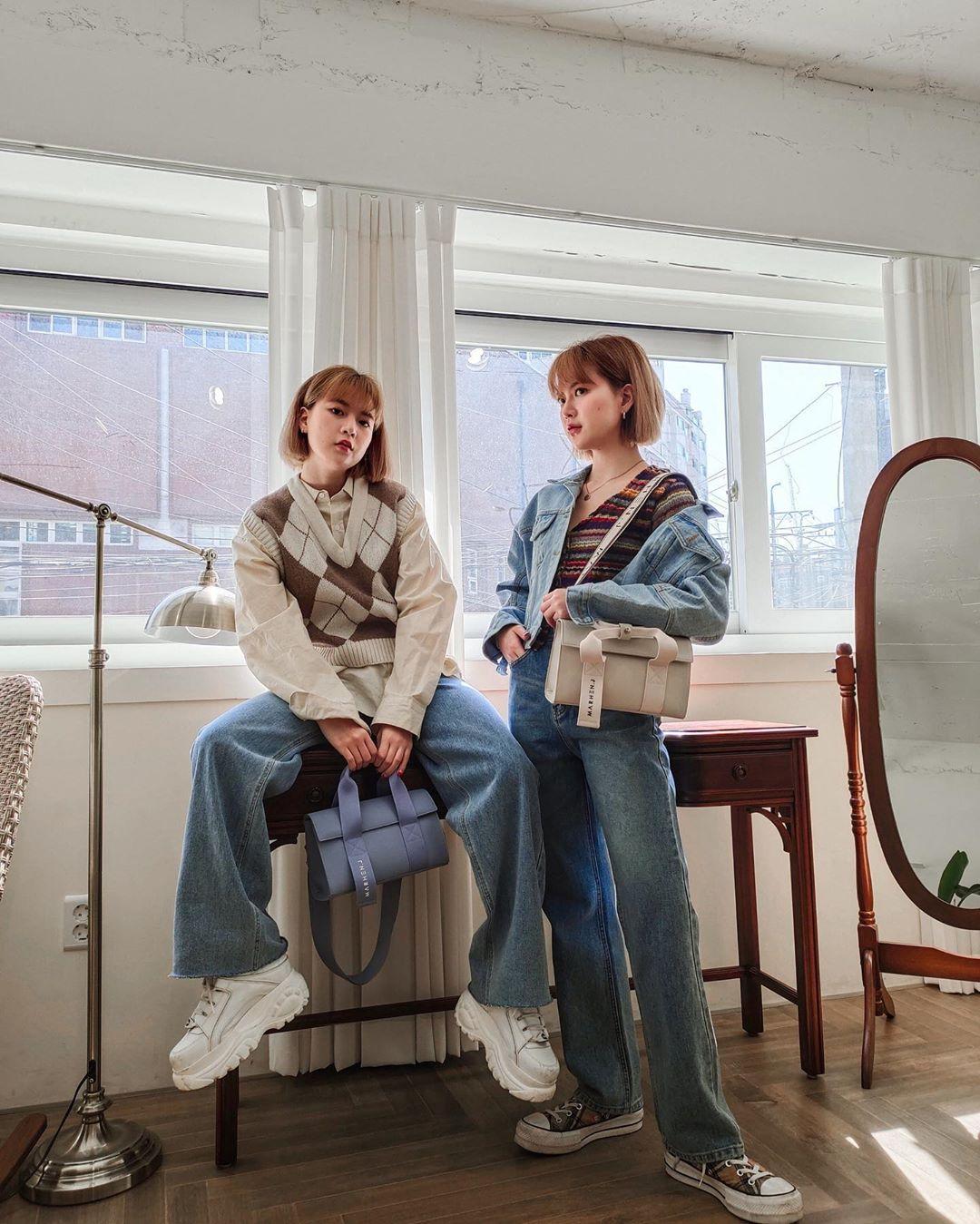 phong cách thời trang retro áo khoác denim on denim