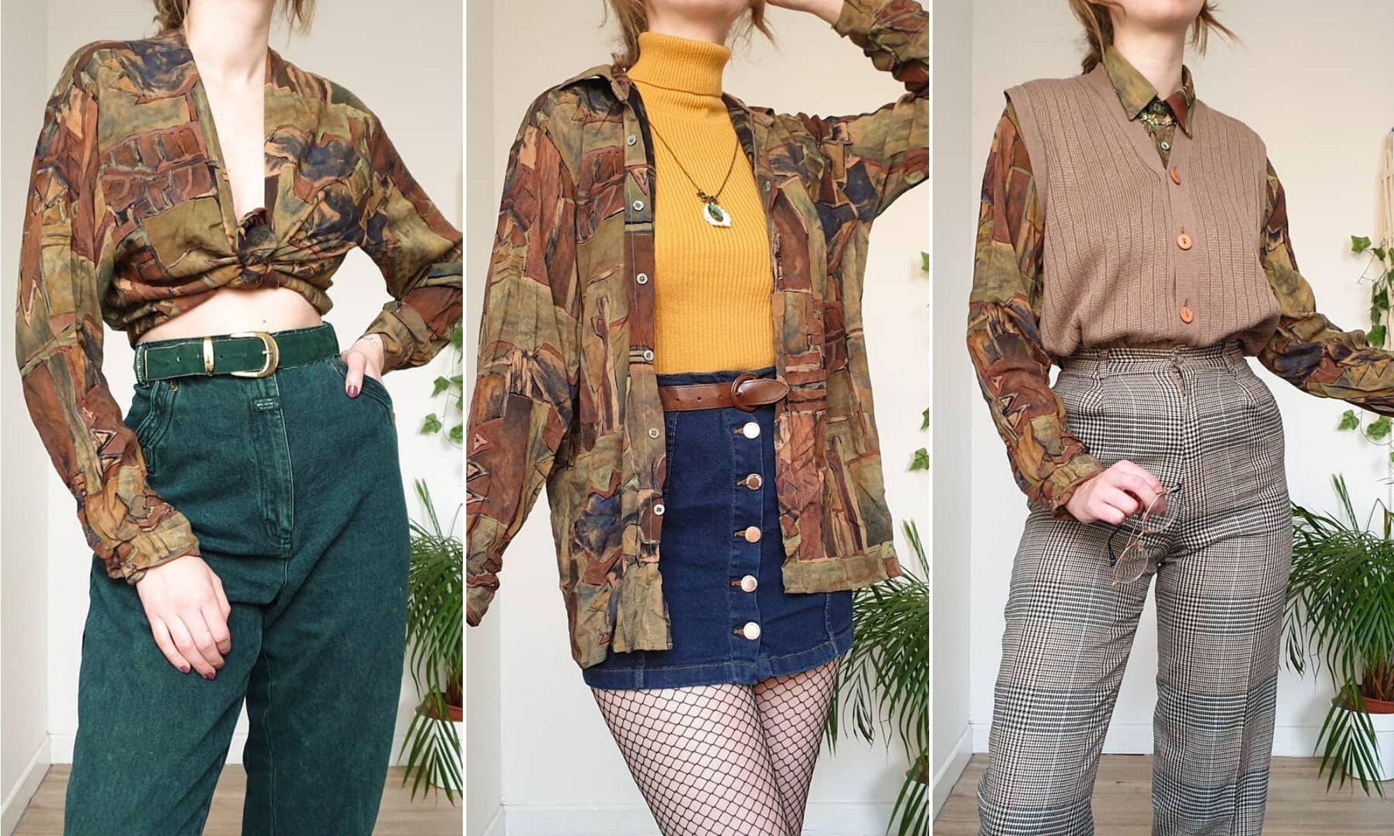 phong cách thời trang retro áo sơmi họa tiết 3 cách mặc