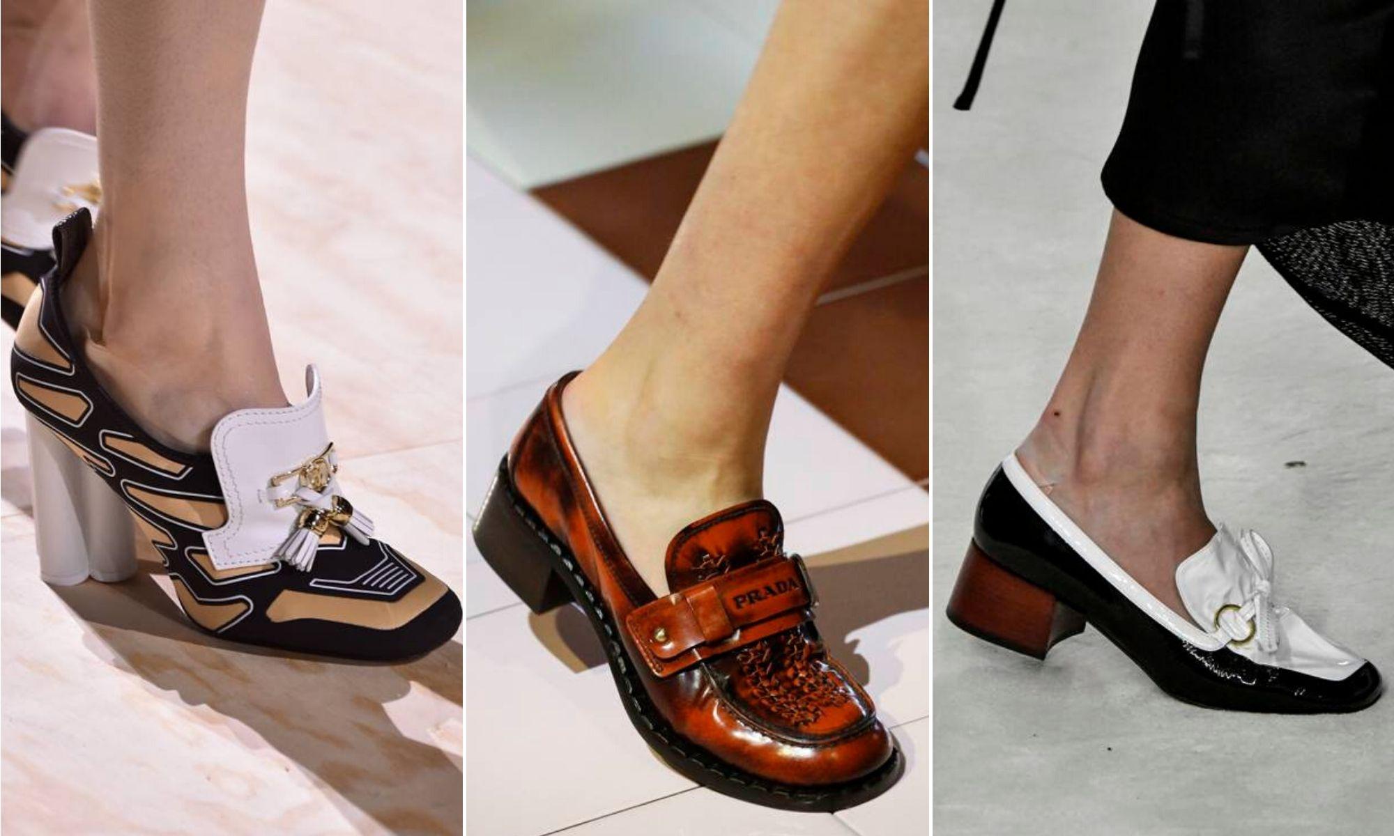 giay loafer cao gót phong cách retro xuân hè 2020