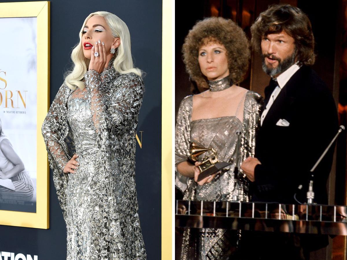 Lady Gaga tri ân nữ diễn viên Barbra Streisand bằng thiết kế ánh bạc của Givenchy