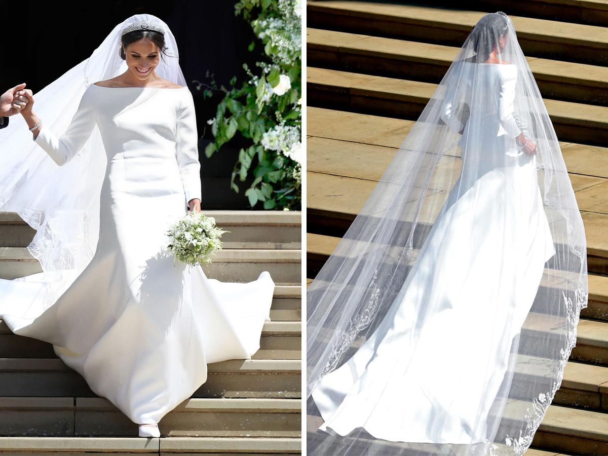 Cận cảnh thiết kế đầm cưới Givenchy của Meghan Markle trong đám cưới Hoàng Gia